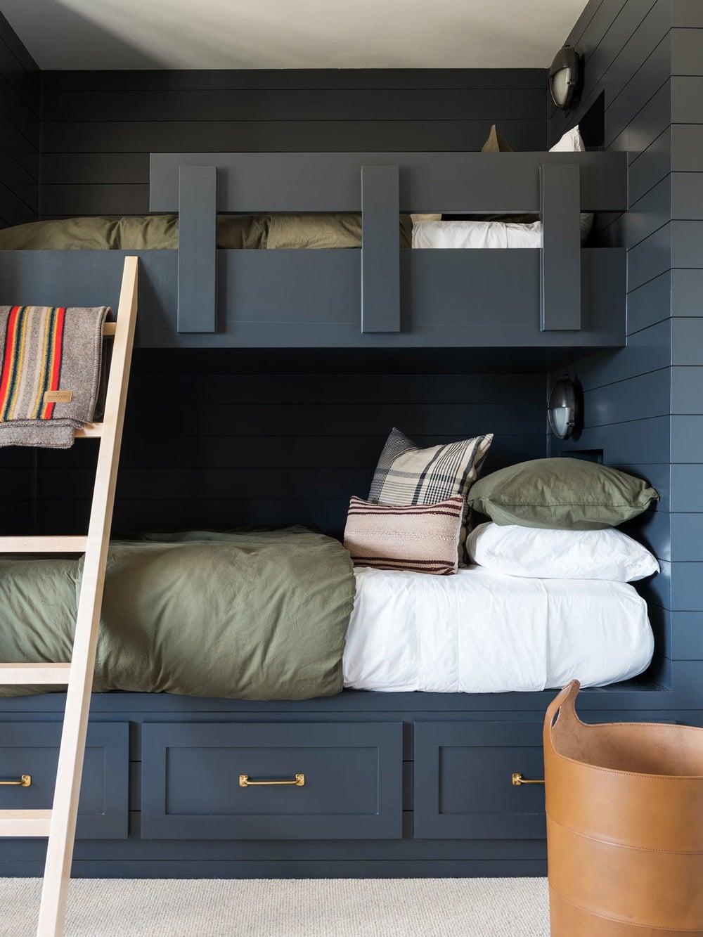 dark blue built in bunk beds