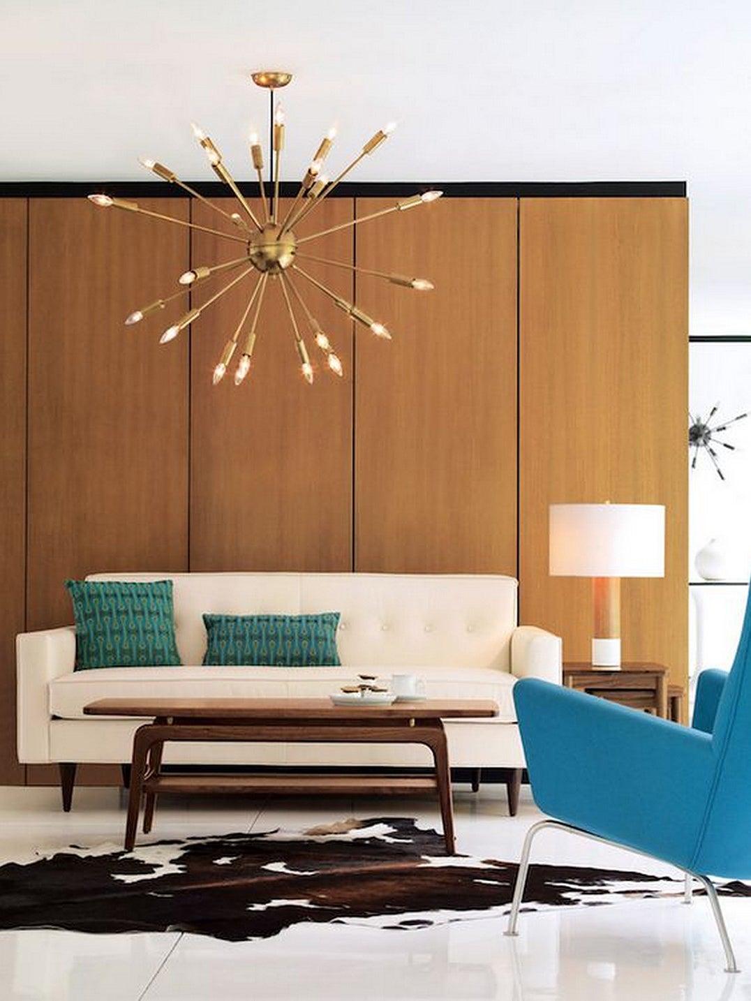 mid century modern living room sputnik chandelier