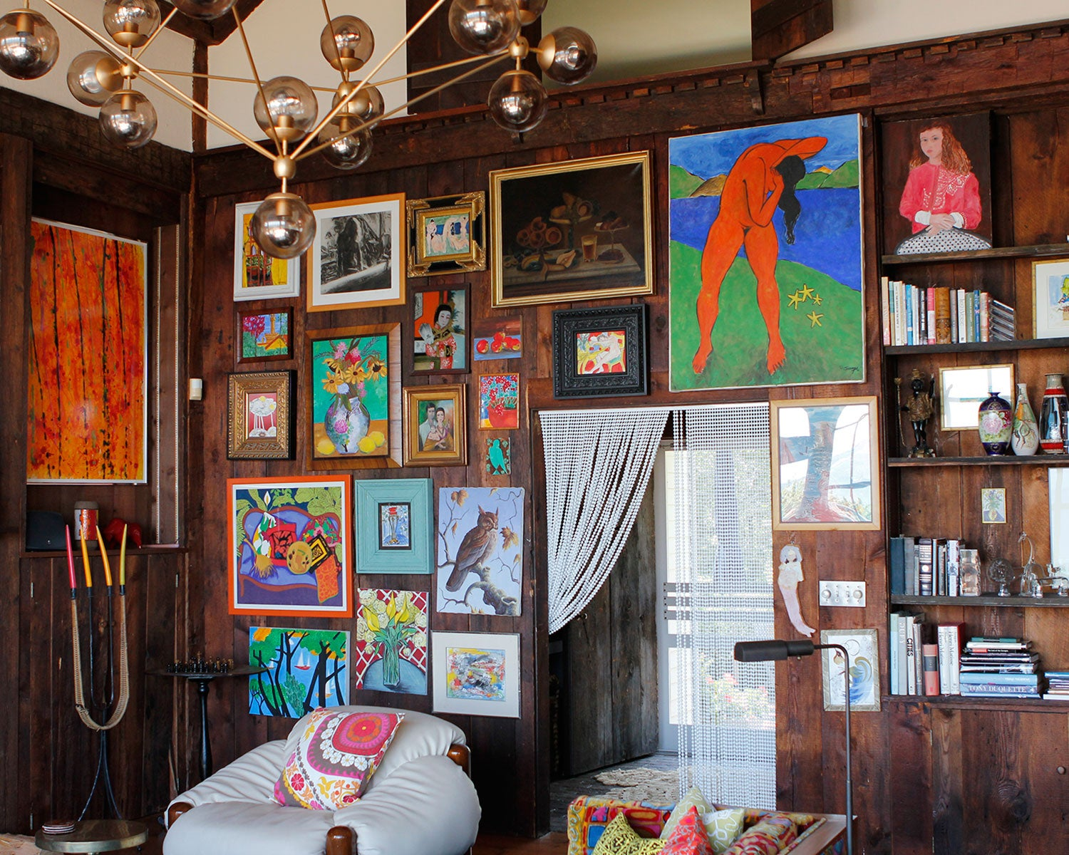 cabin with big gallery wall