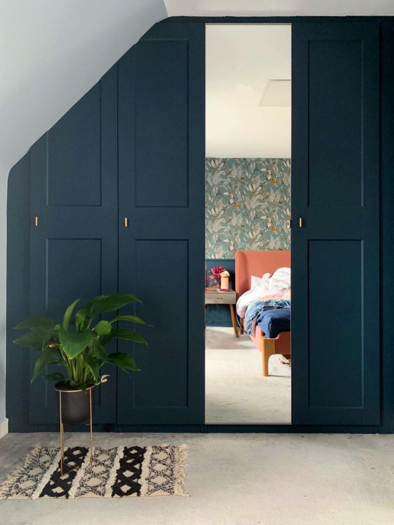 blue ikea pax closet