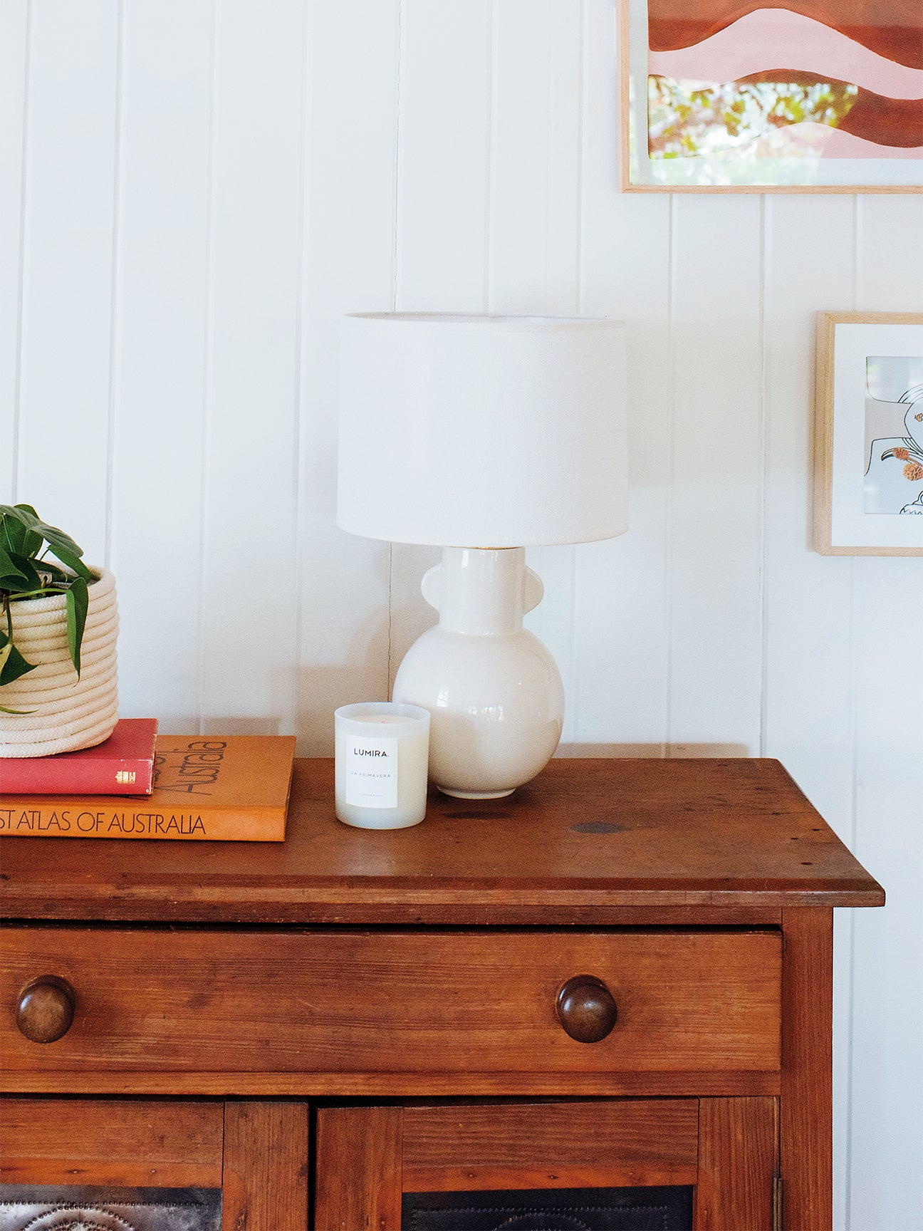 white accent lamp on a wood dresser