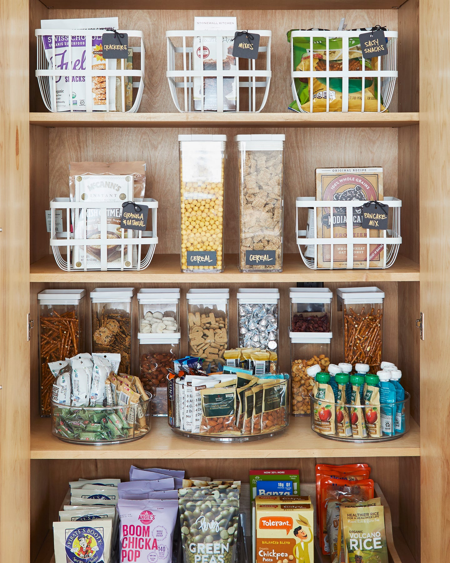 organized pantry with bins