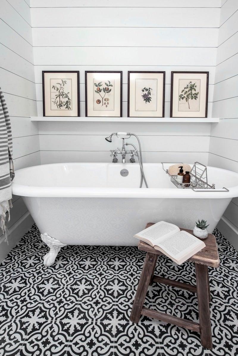 black and white bathroom floors