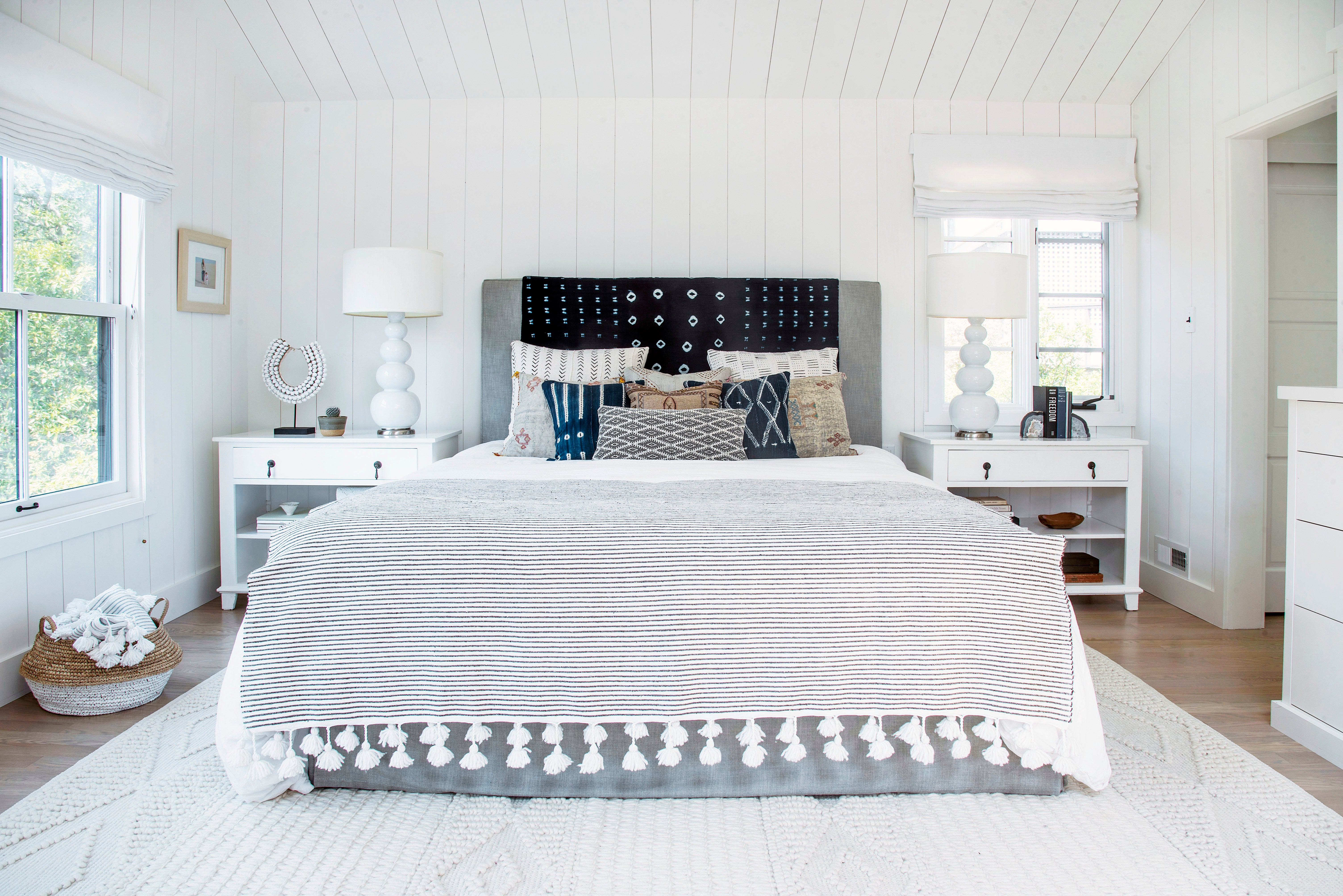 bed with striped blanket