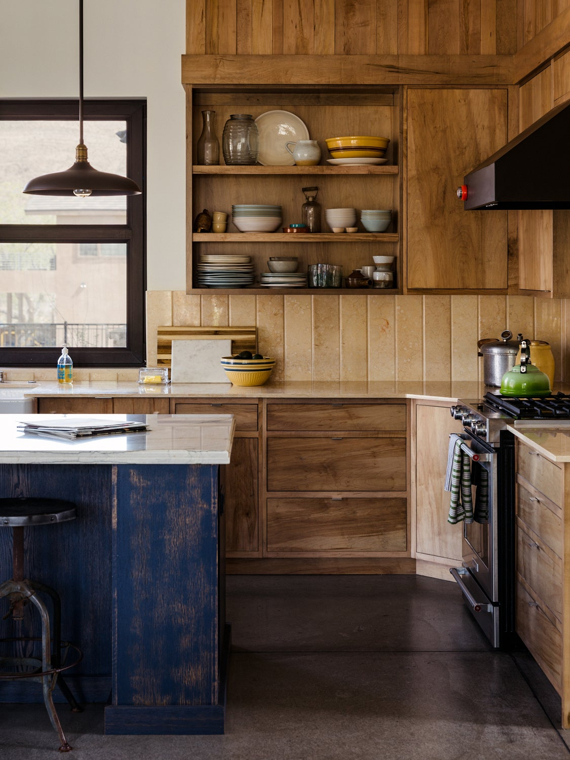 natural-toned kitchen with rustic island