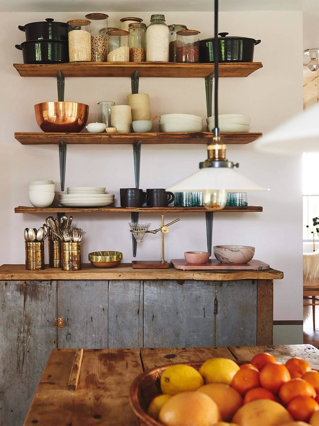 rustic kitchen sideboard and shelves