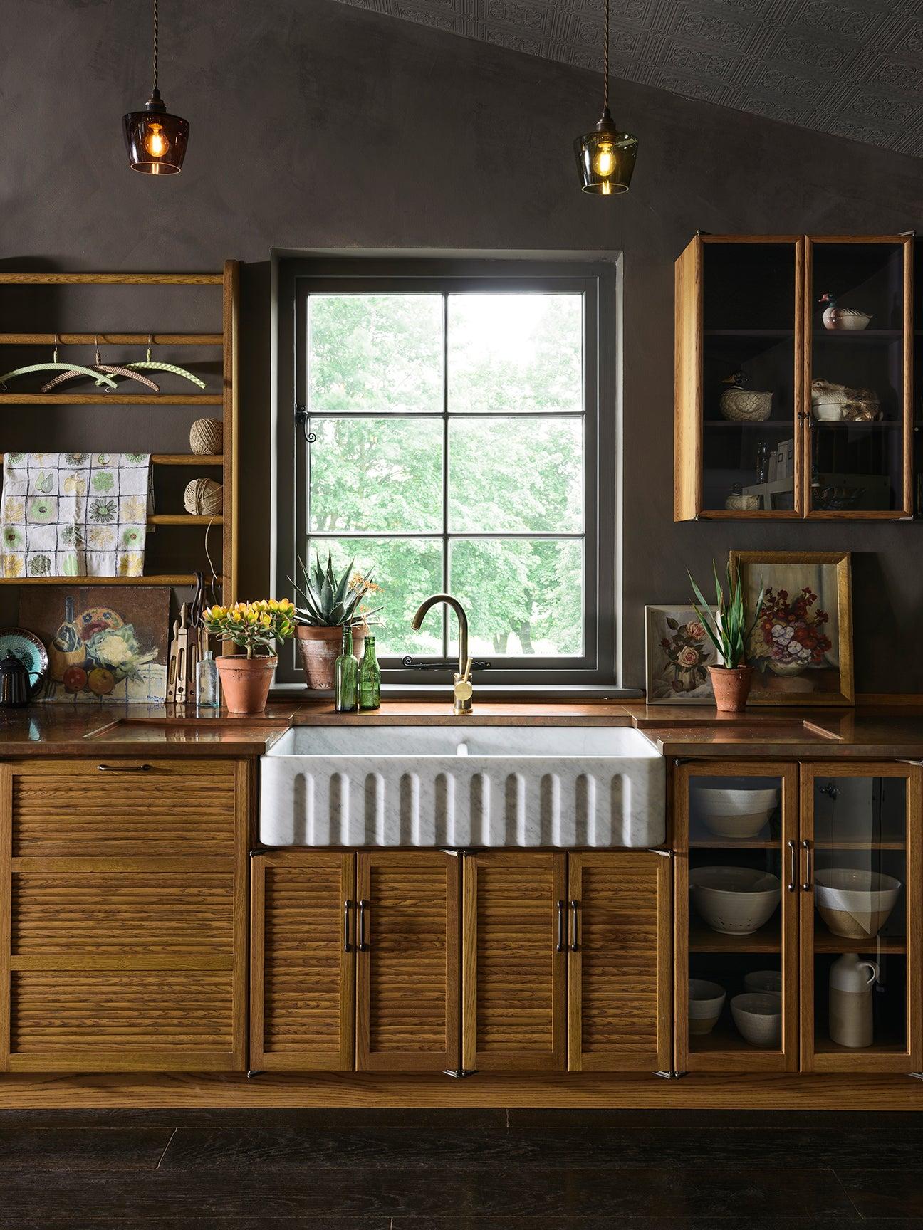 tambour wooden kitchen cabinets