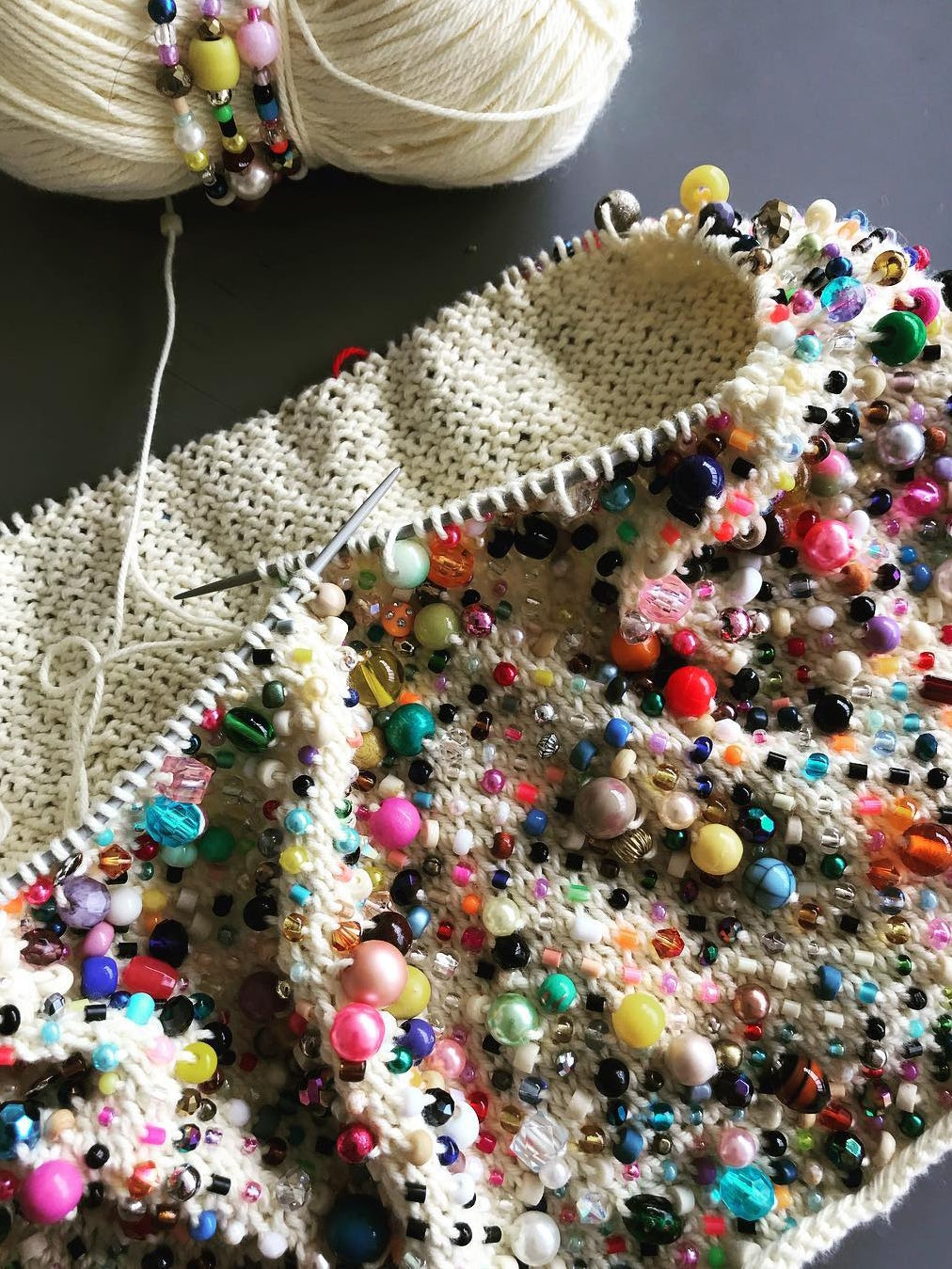 Beaded knitting project