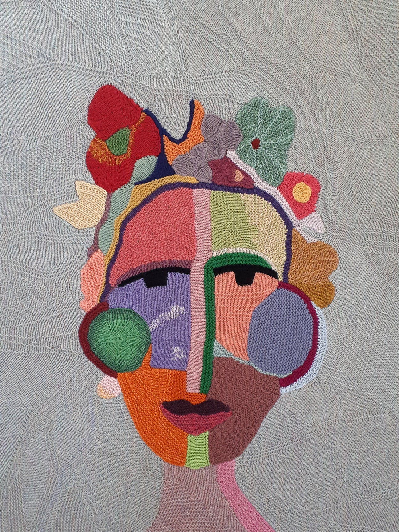 Knitted abstract portrait