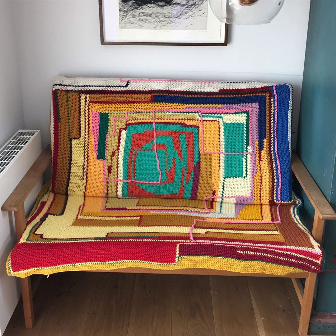 Abstract knitted blanket