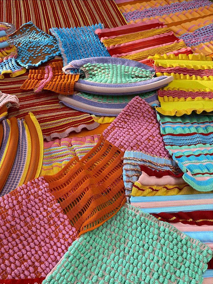 Colorful mixed knitted samples