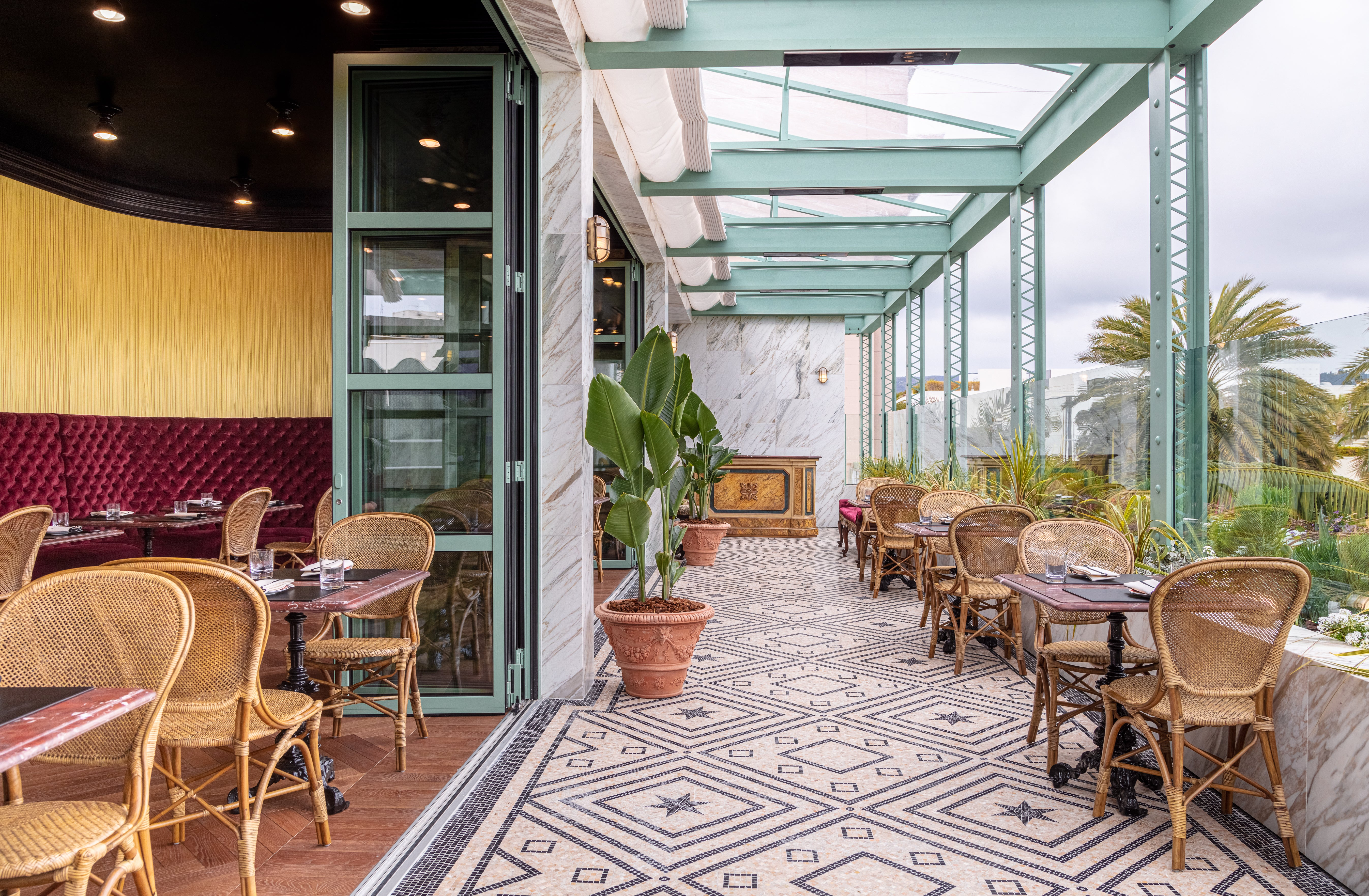 open air restaurant with painted frames