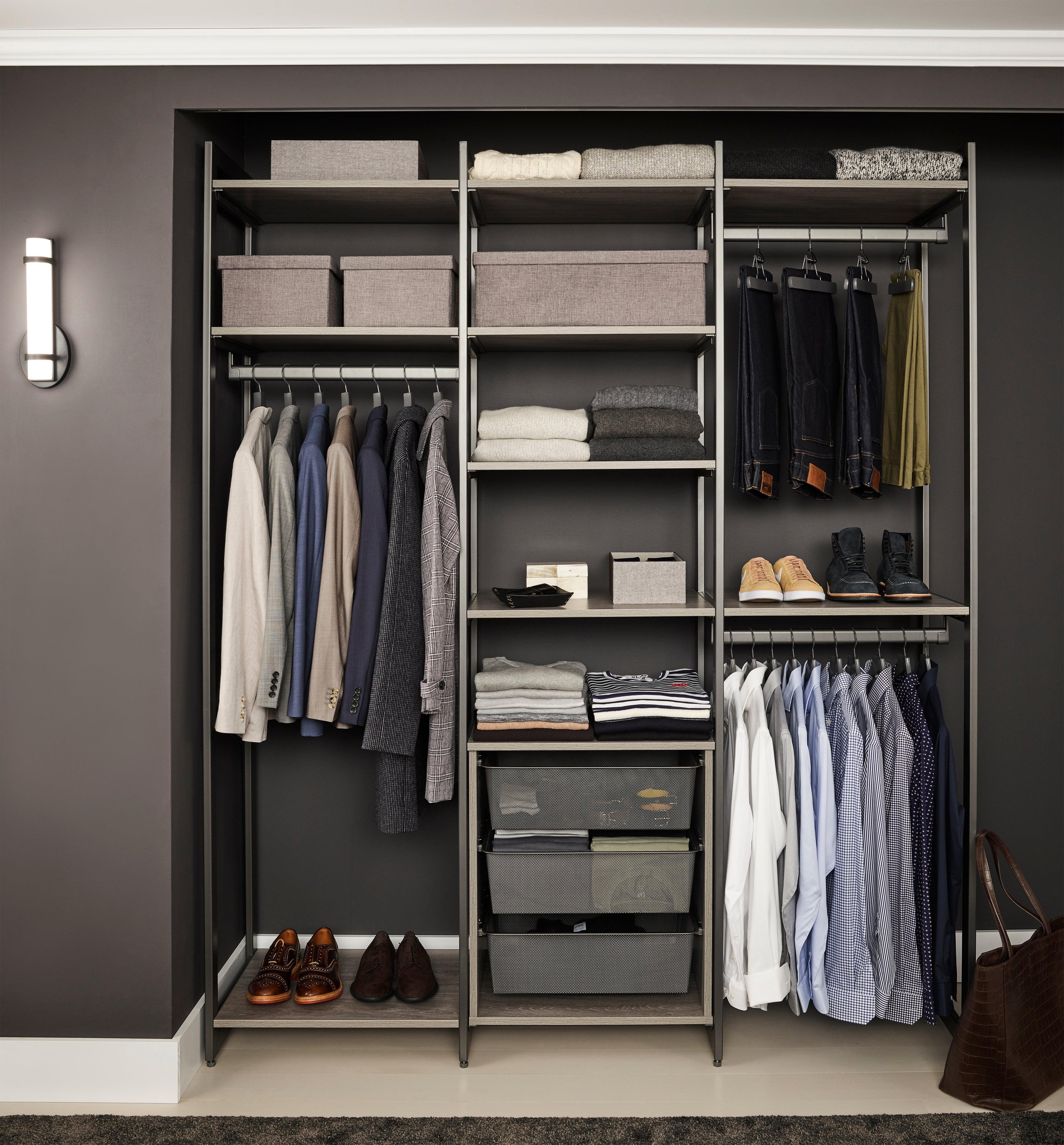 black closet with shelves