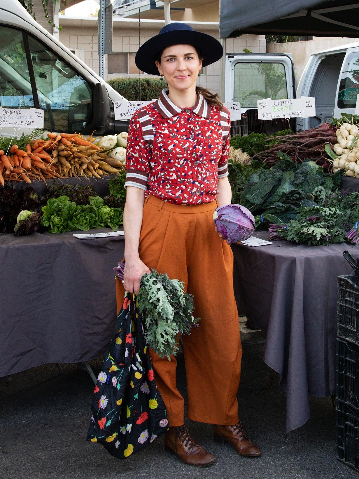 Julia Sherman at the farmers market