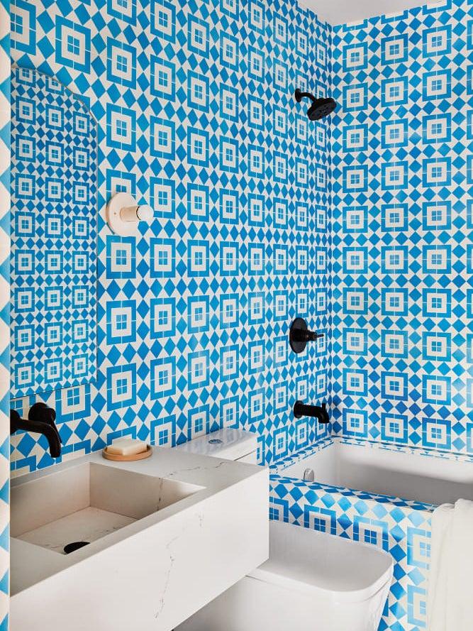 Blue patterned tile bathroom
