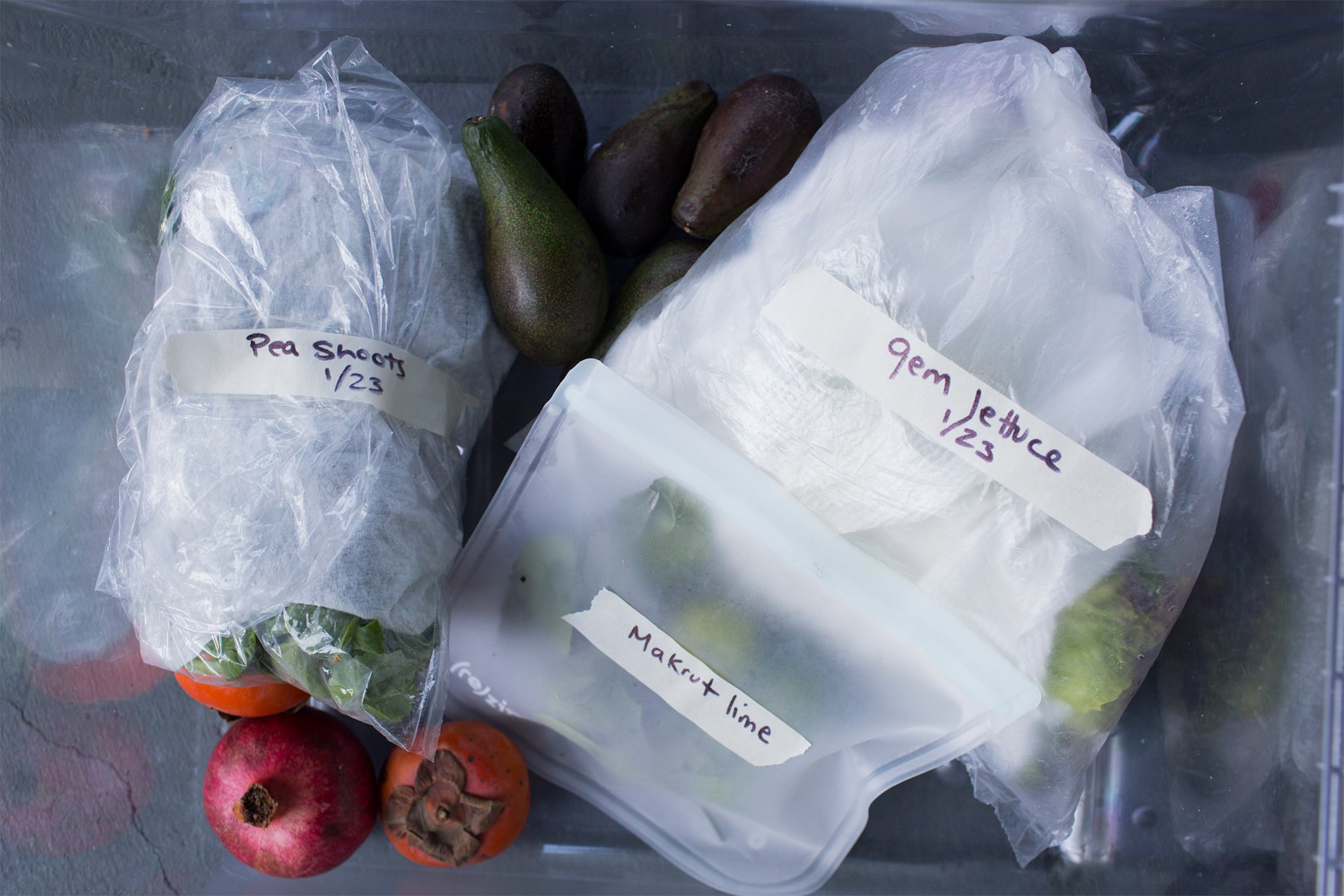vegetables in labeled bags