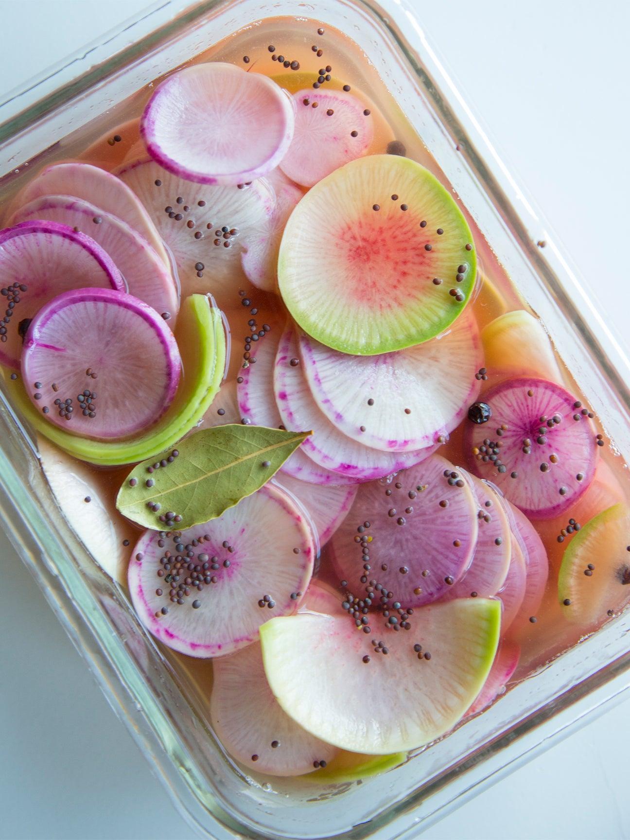 Radishes in dish