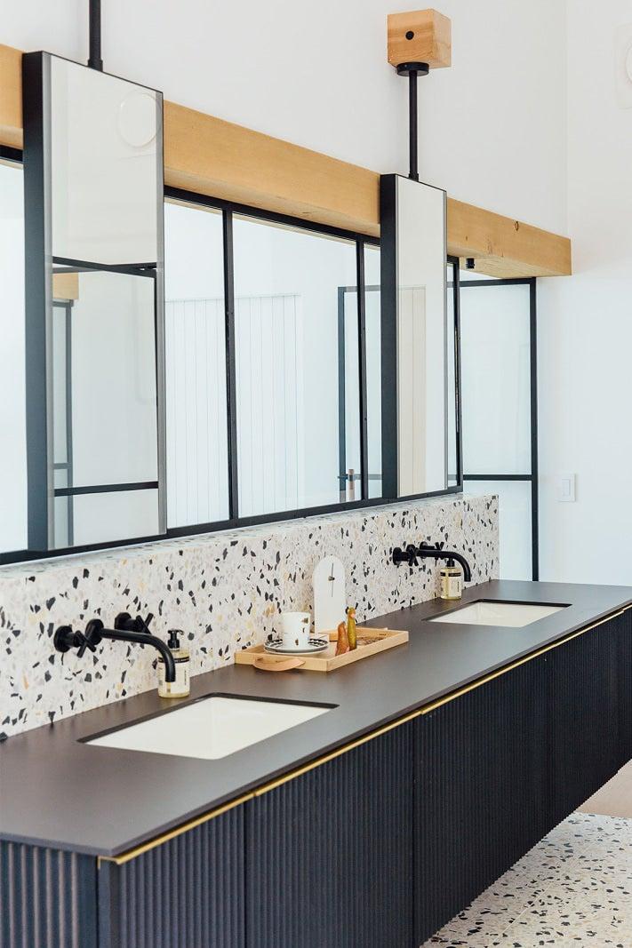 Black and white terrazzo bathroom
