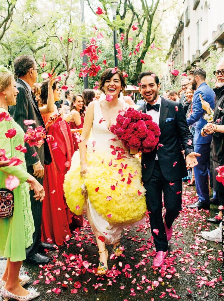woman in yellow wedding dress