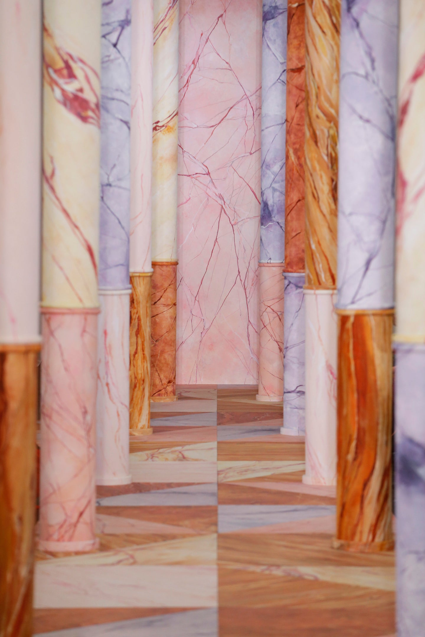 colorful marble columns