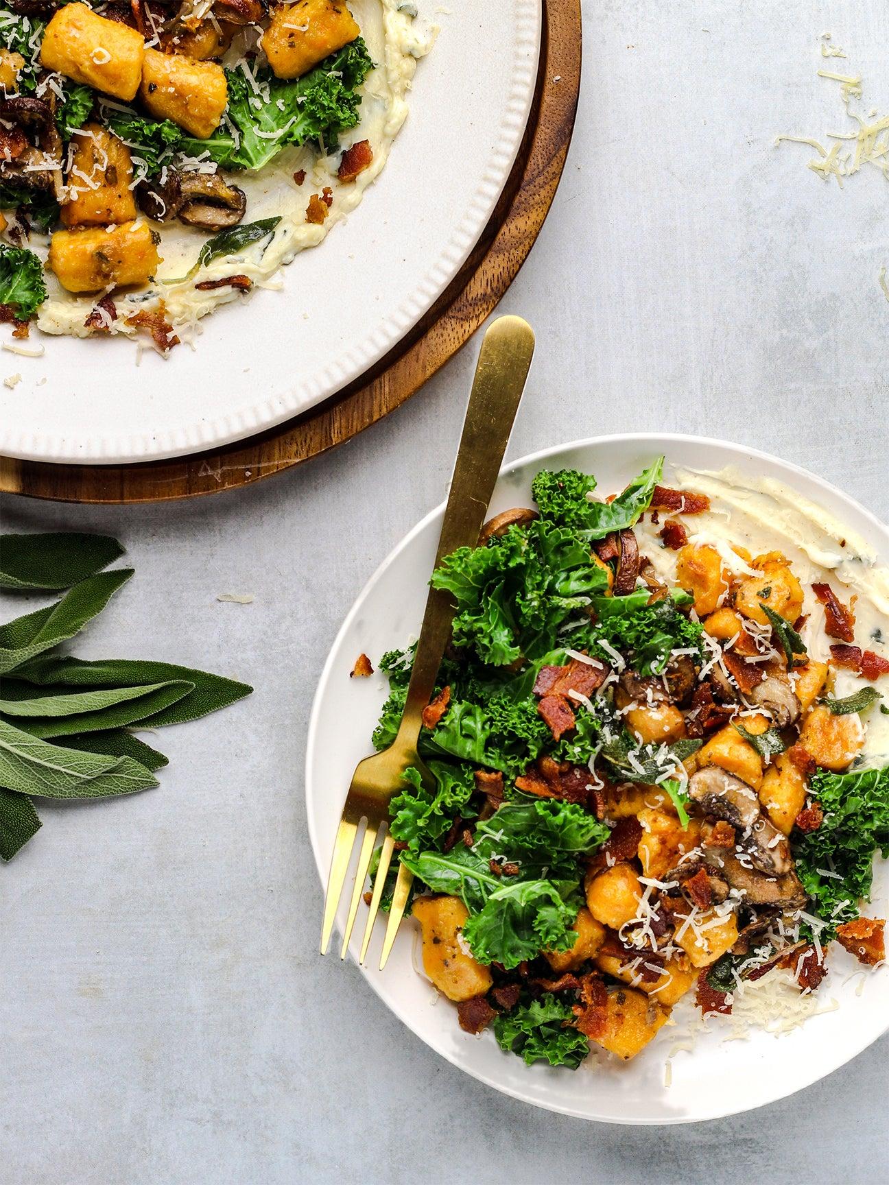 sheet pan sweet potato gnocchi with salad