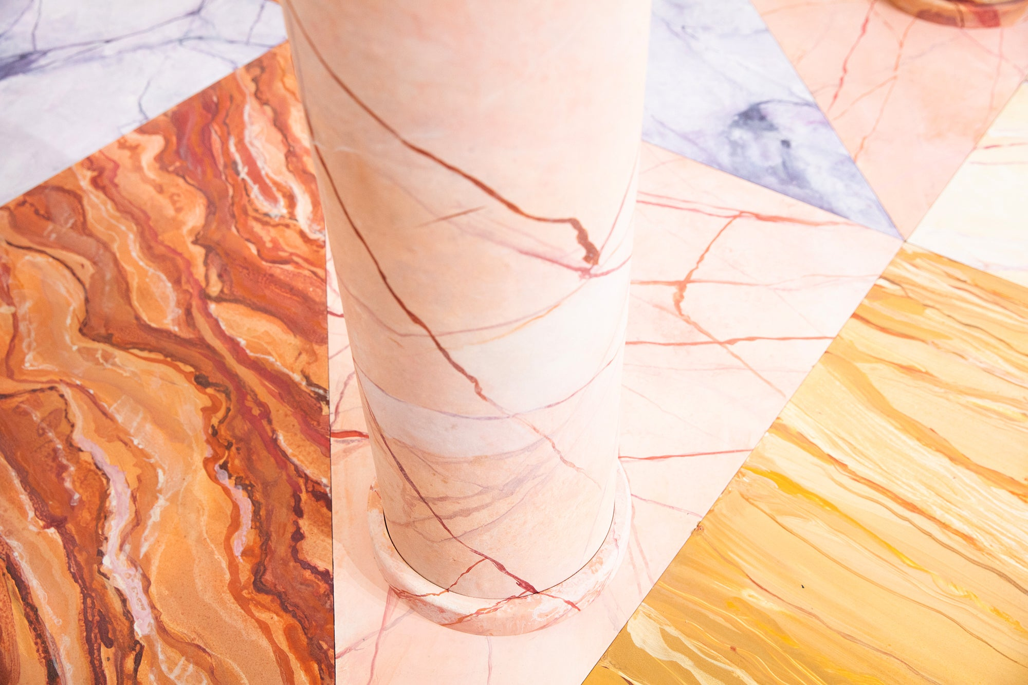 pink yellow and purple marble floors