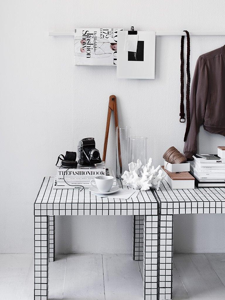 white and black grid tables