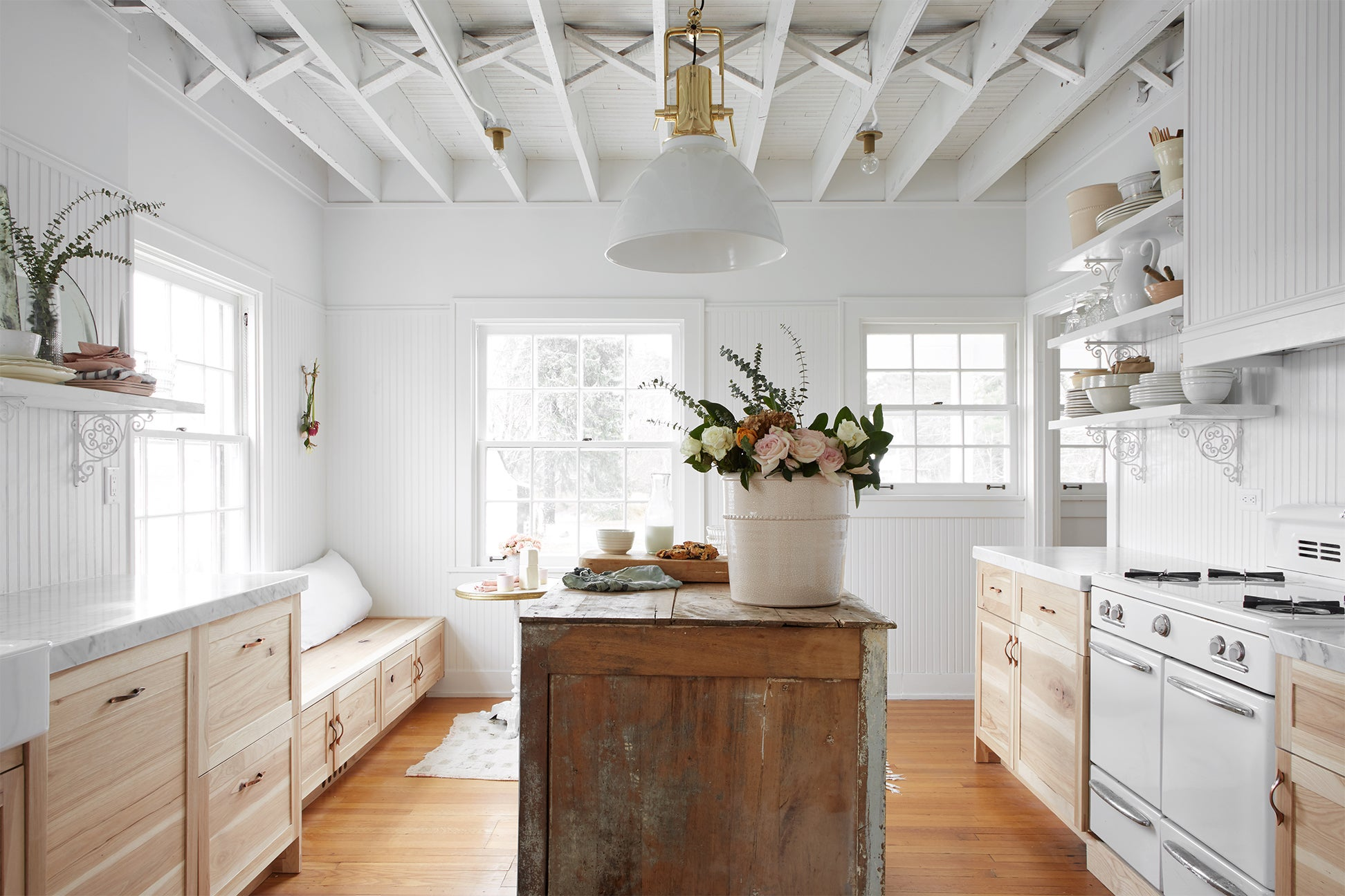 white and wood space