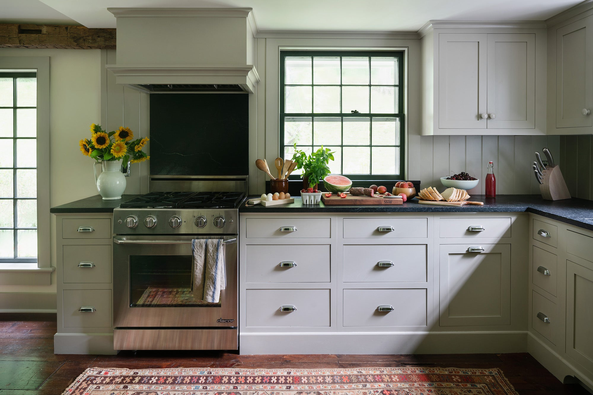 gray kitchen with oriental rug