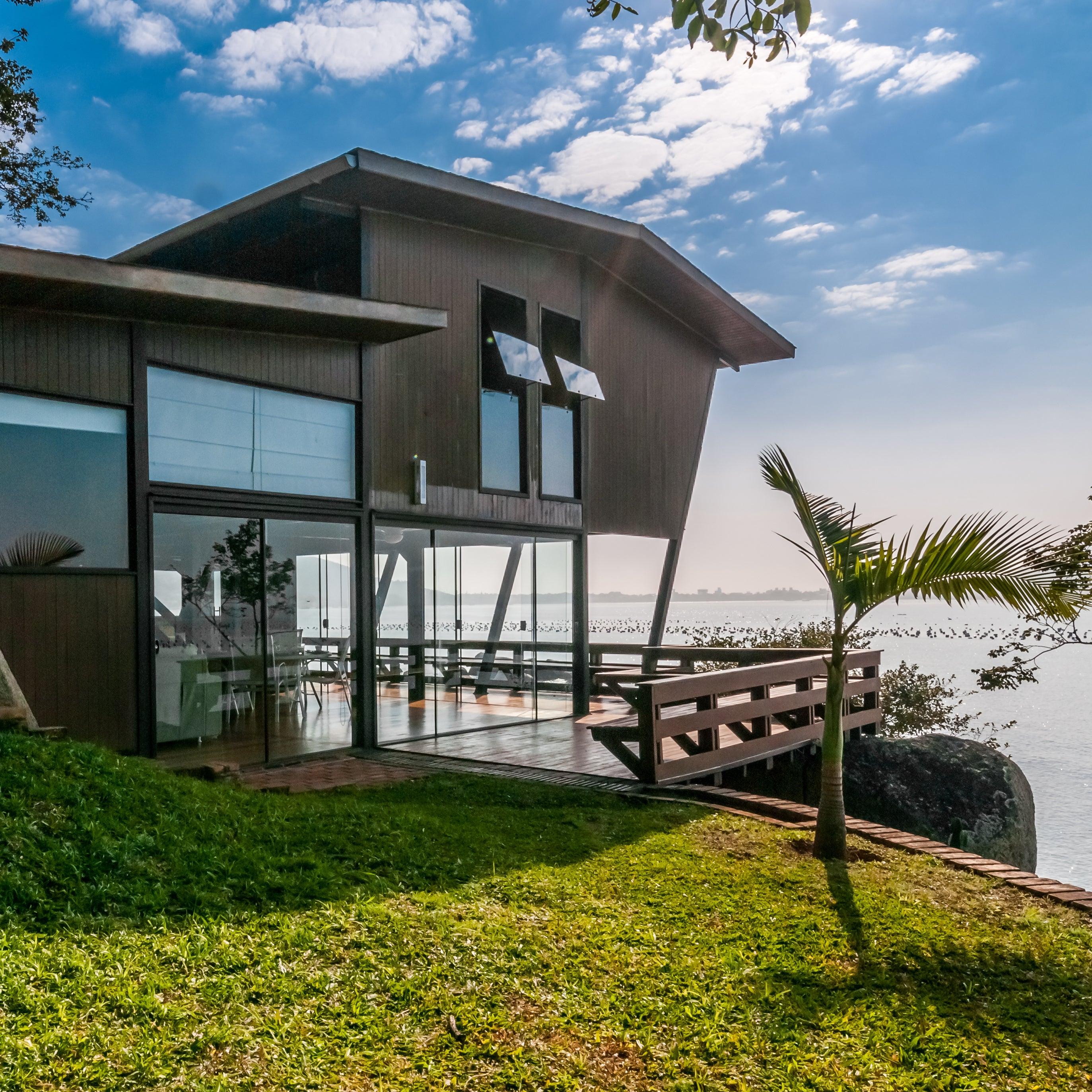 Home overlooking water