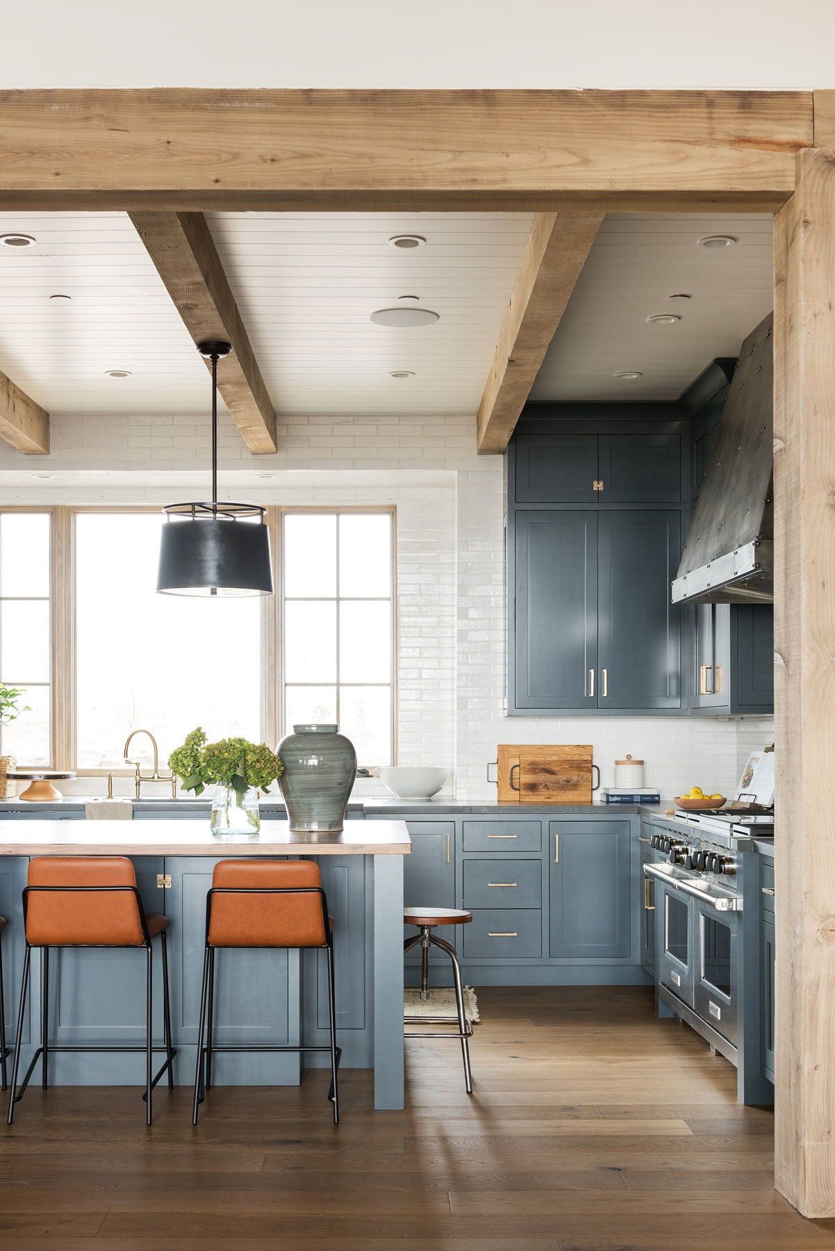 large kitchen with wood beams