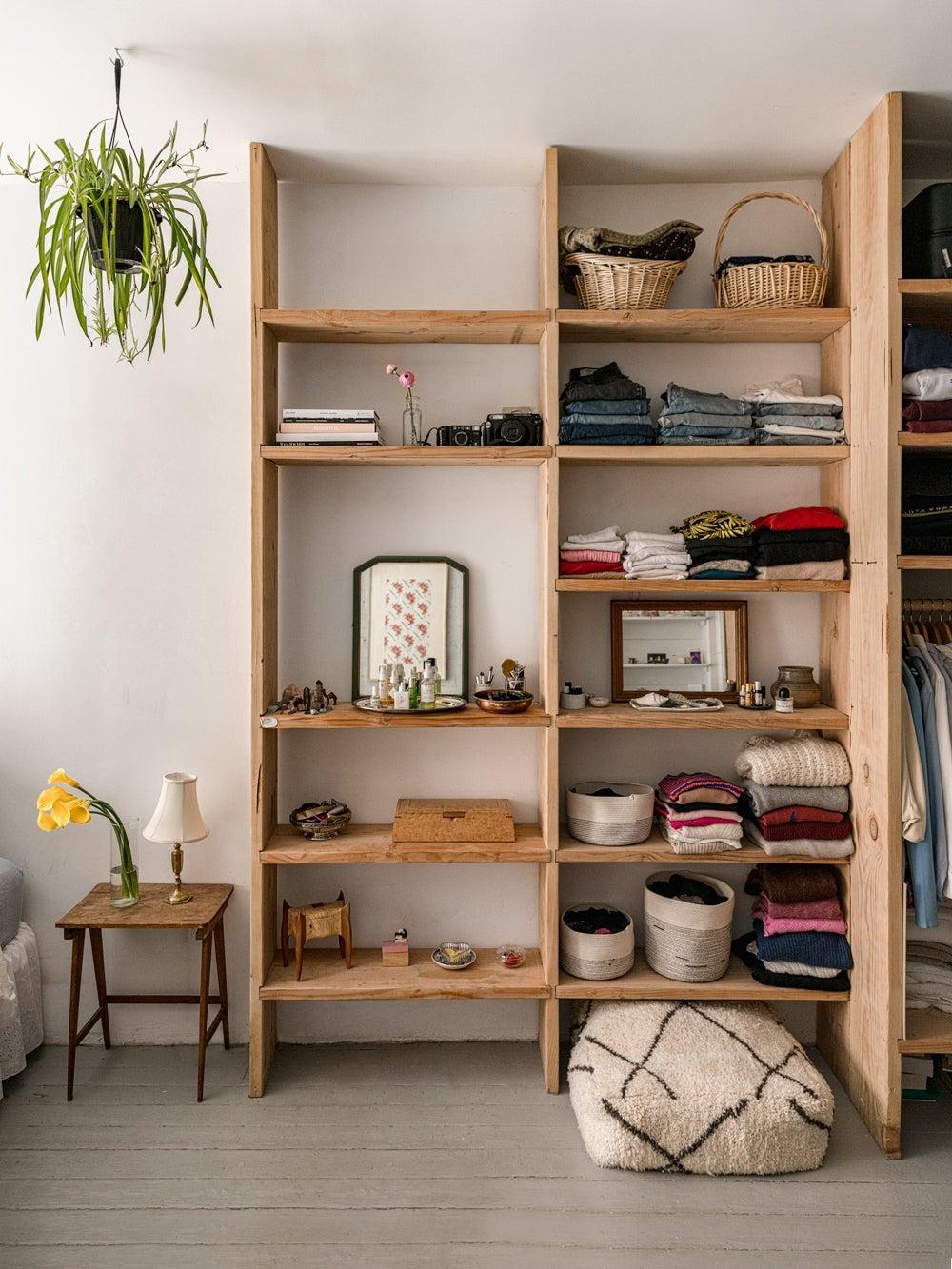 wooden built-in shelves