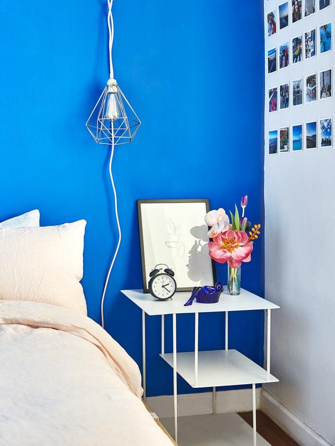 bright blue wall bedroom