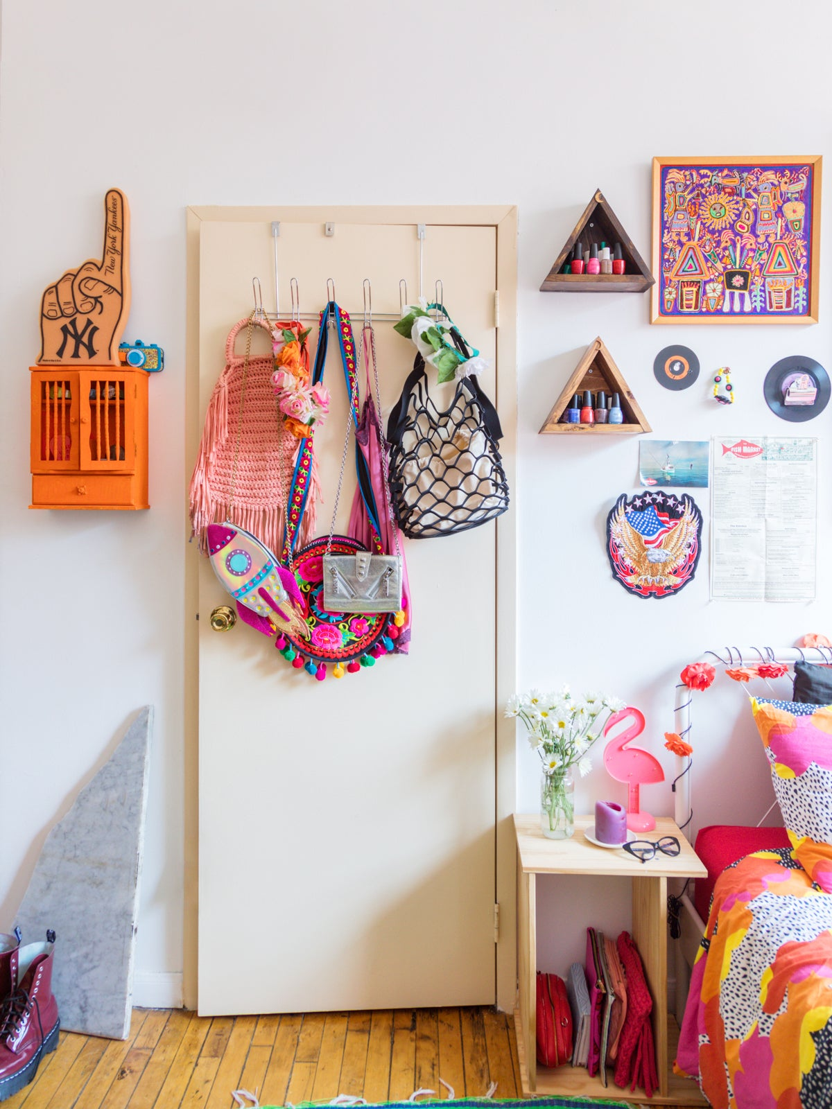 colorful room with over-the-door hooks