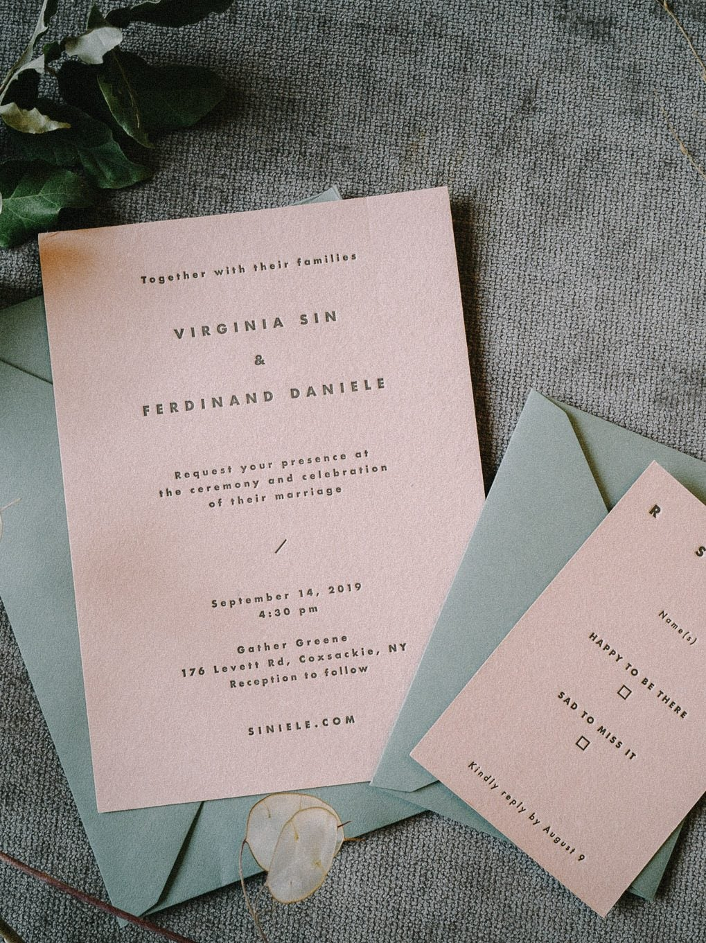 green and pink invites