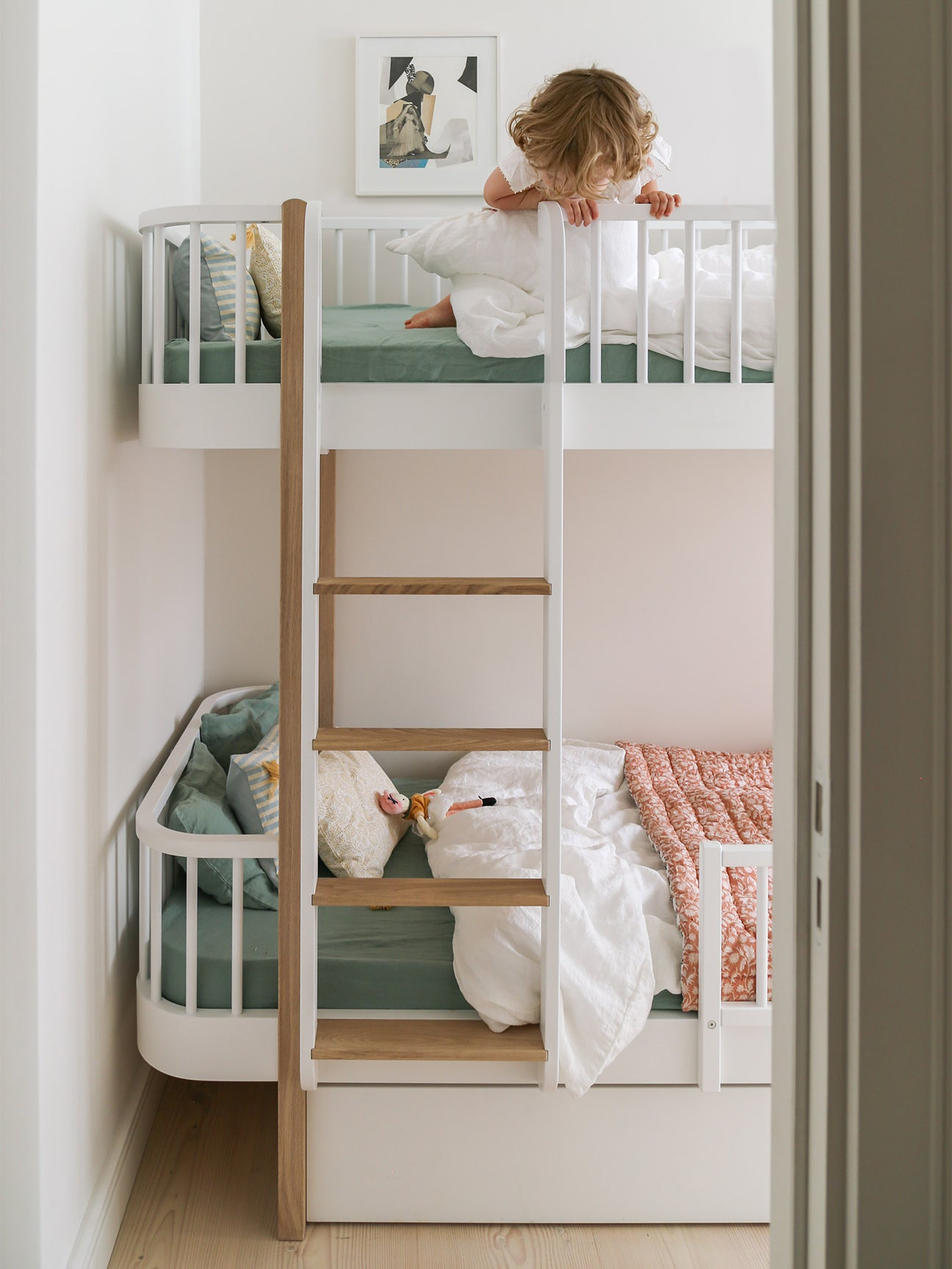 kids bunk beds with blue linens