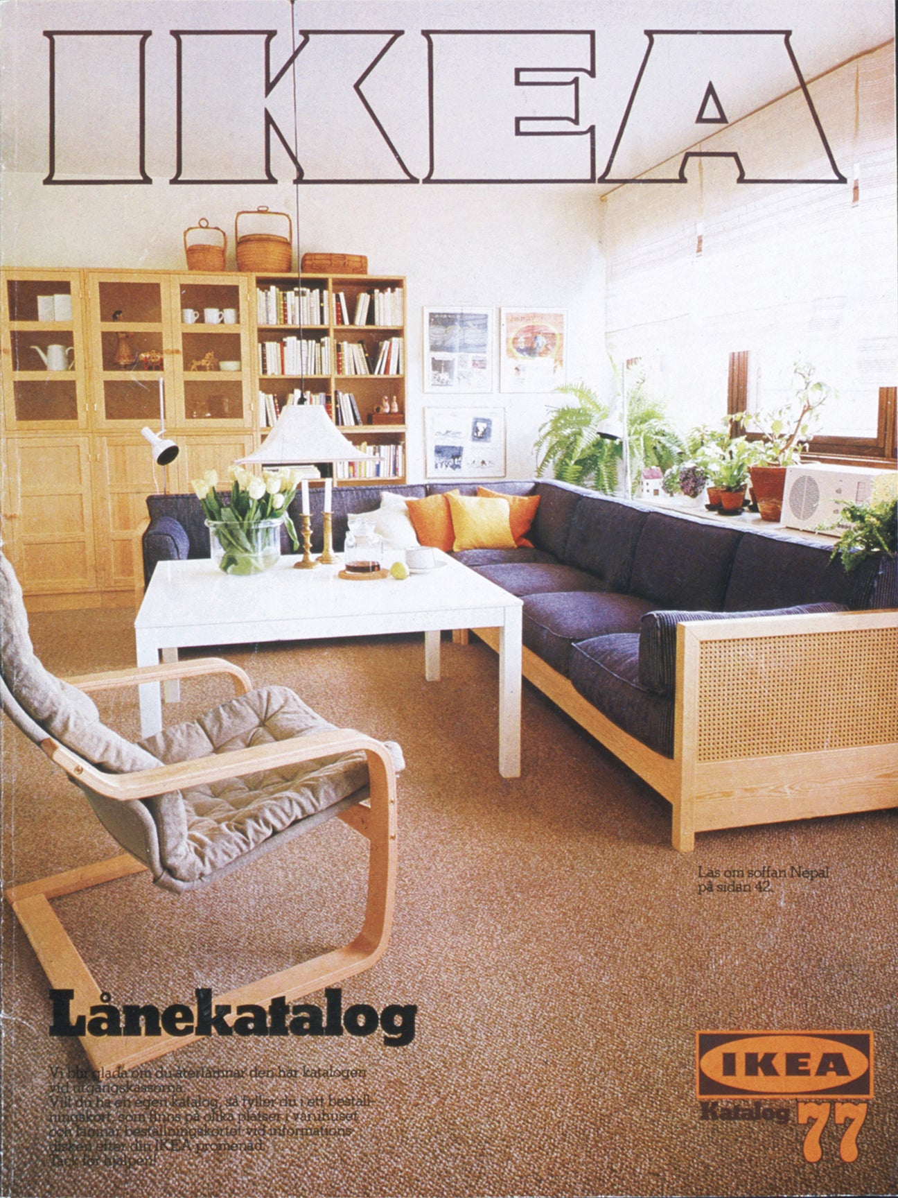 old ikea catalogue with cane furniture living room