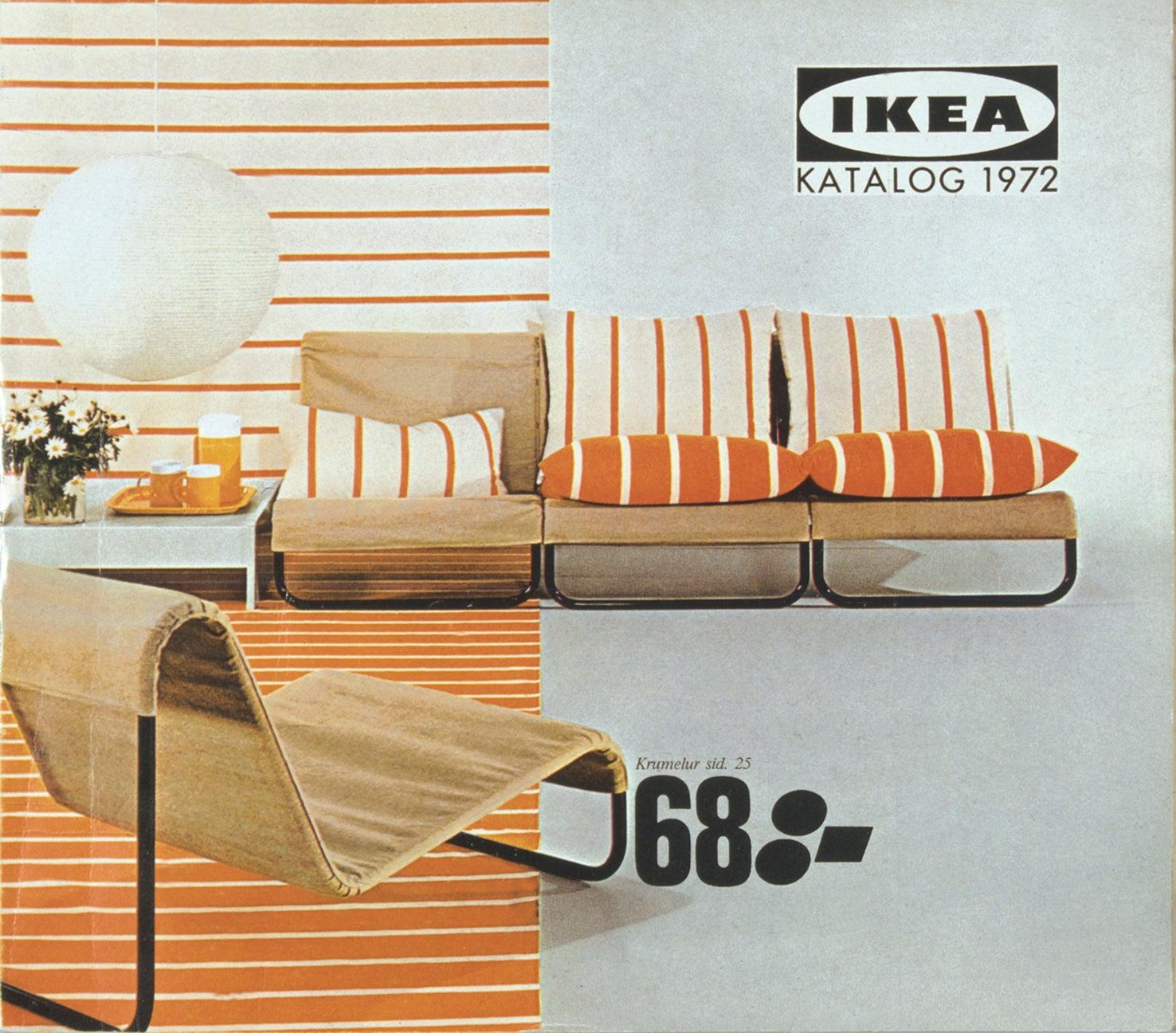 old ikea catalogue featuring orange stripes