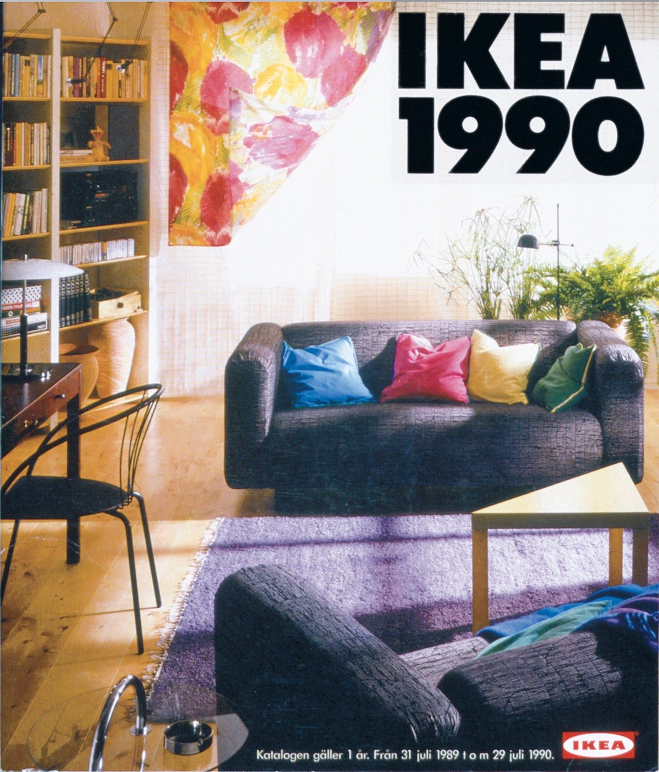 old ikea catalogue cover featuring a living room with grey sofas
