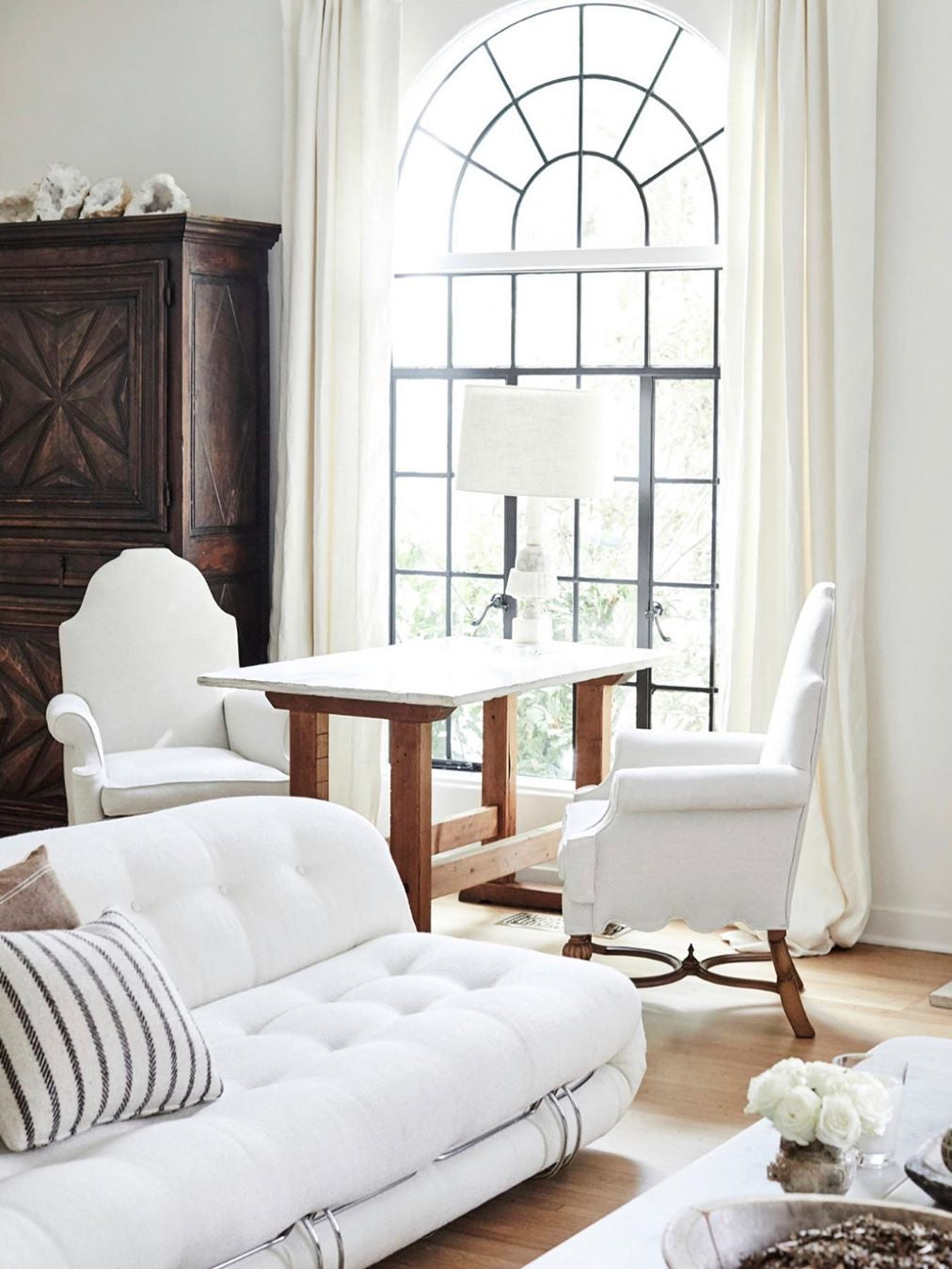 all white living room