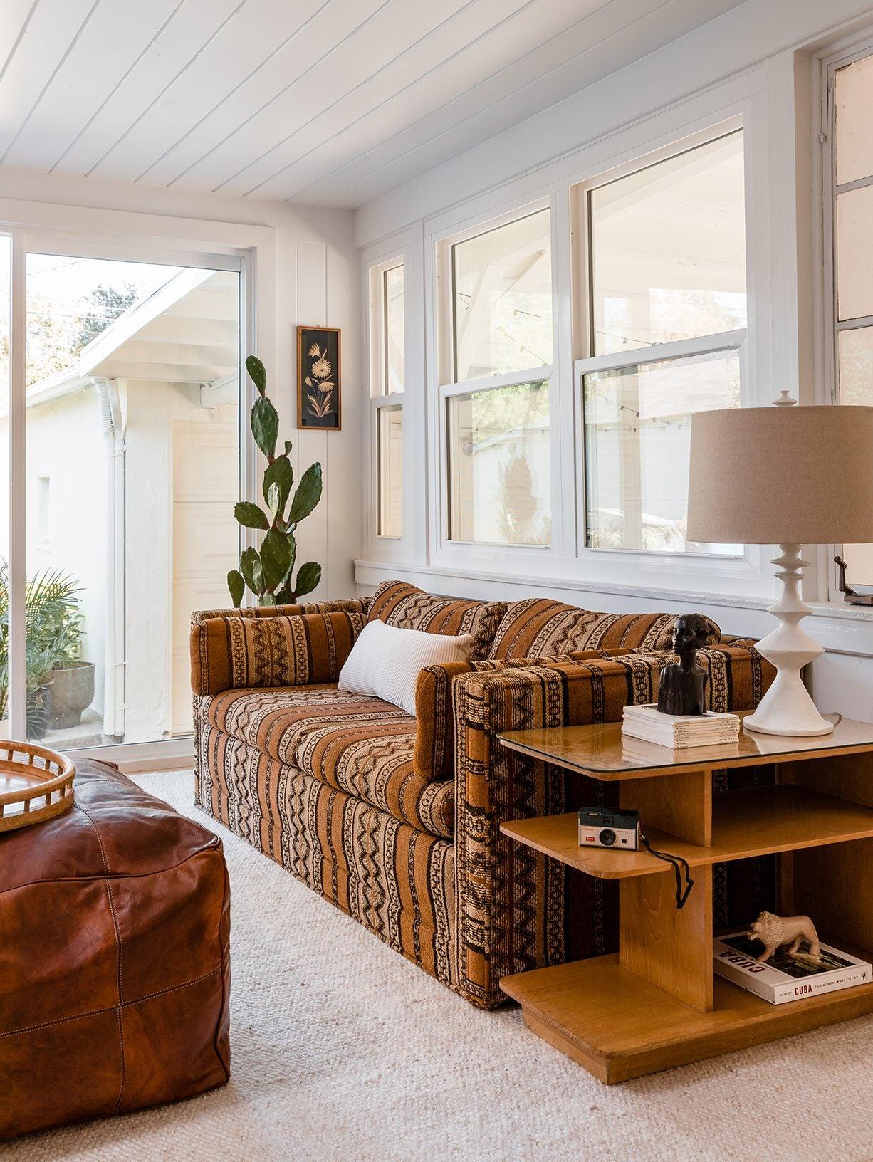 vintage brown sofa living room