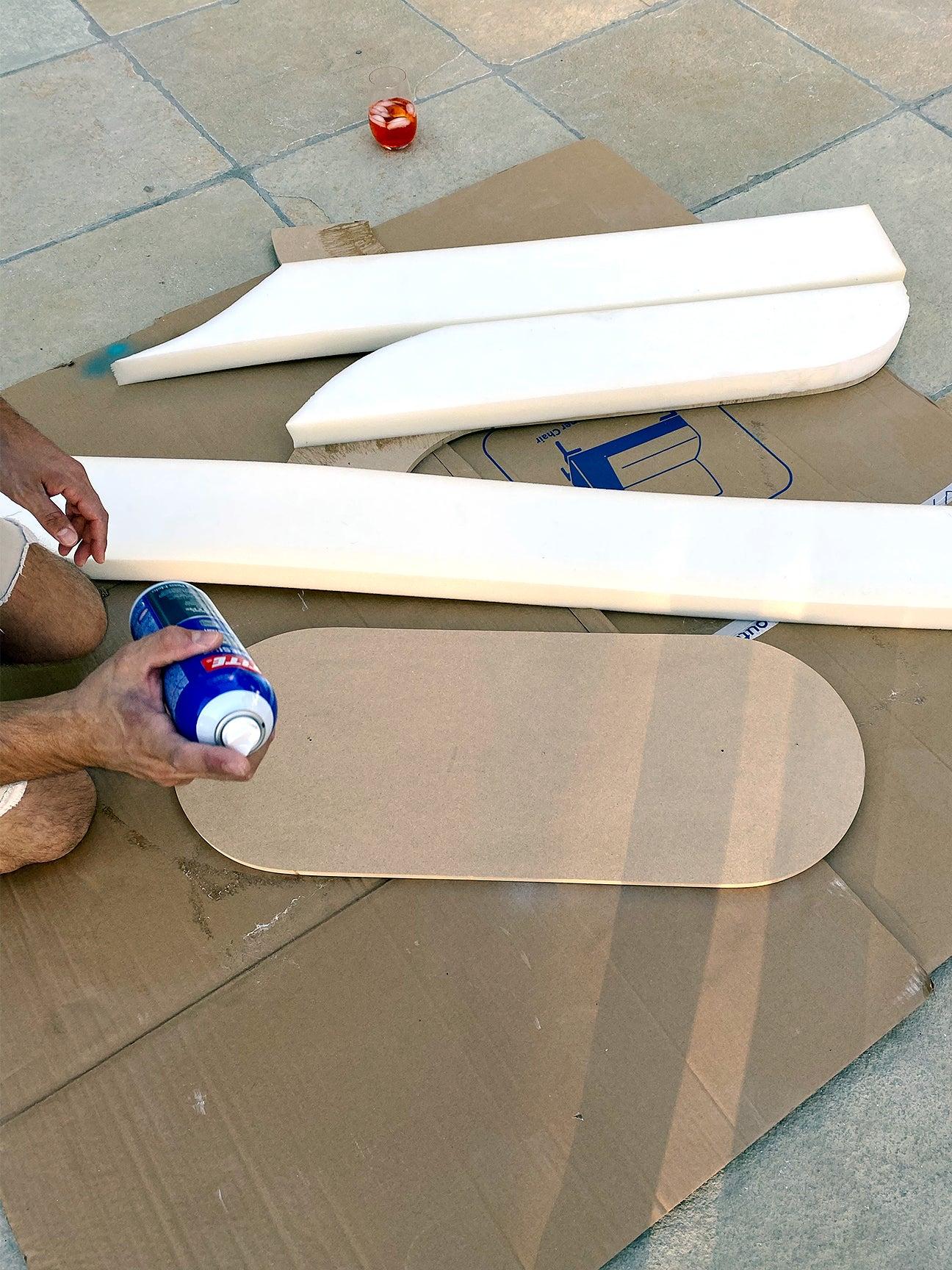 gluing foam to wood