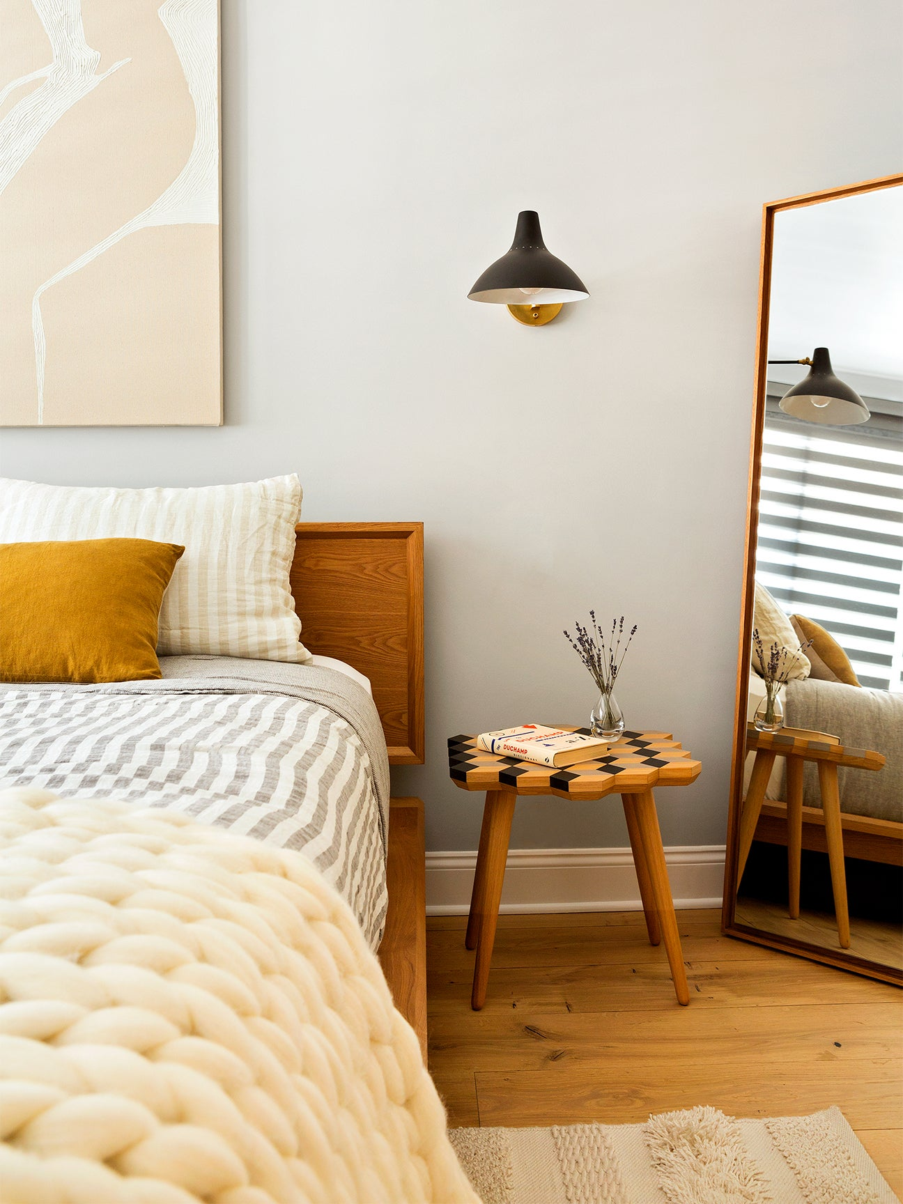 Bed with neutral bedding