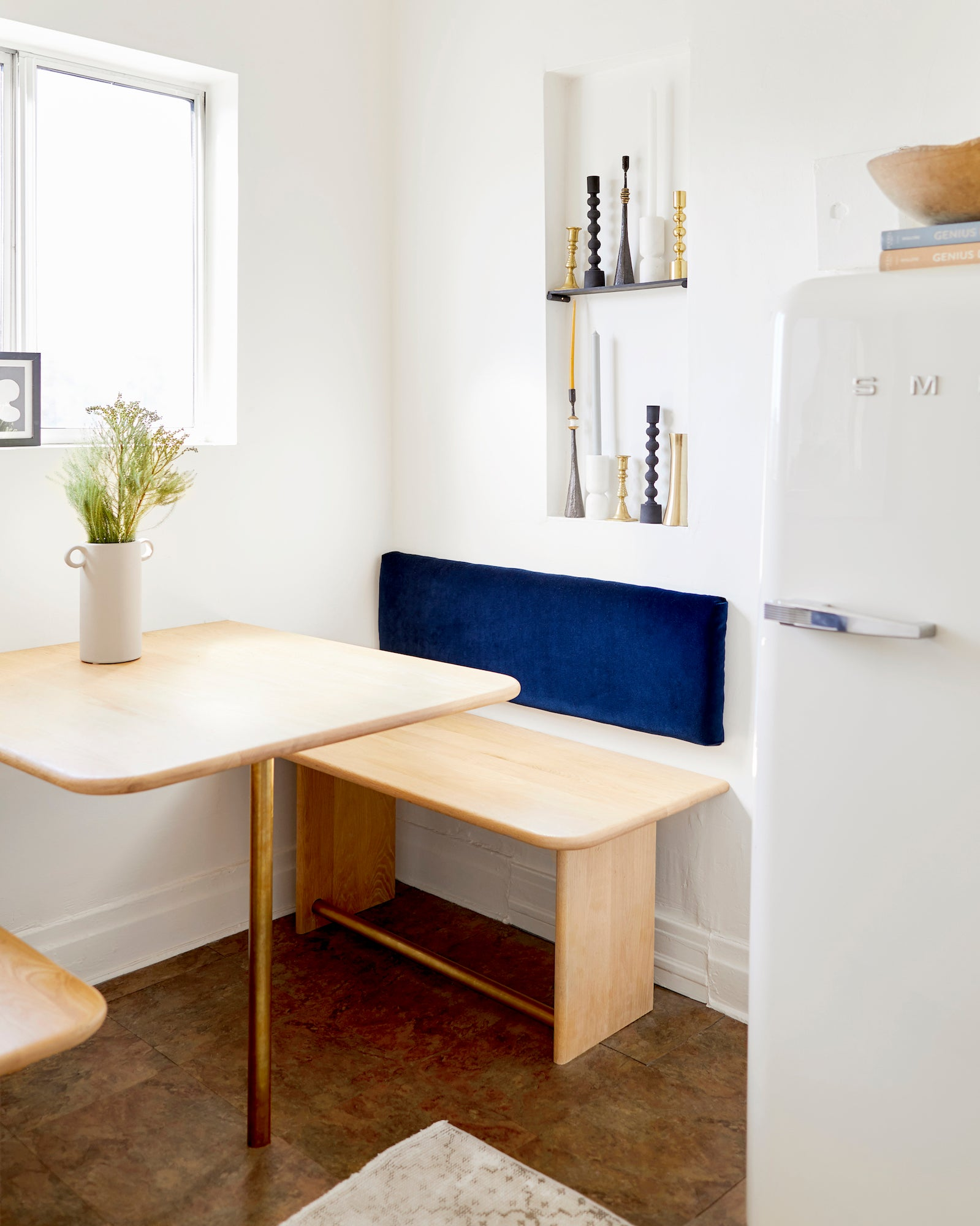 Small rental kitchen with wood countertops