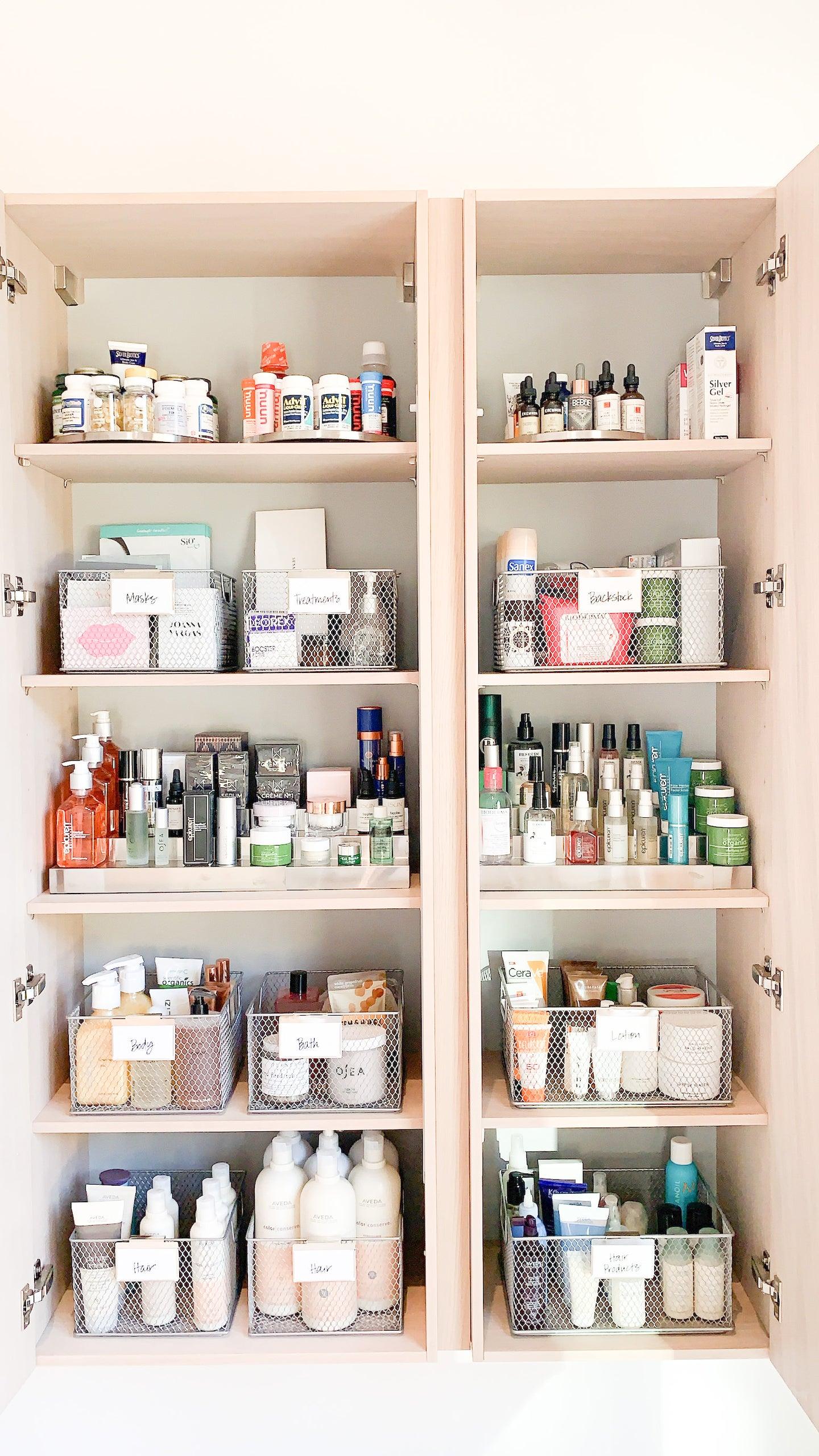 organized beauty closet