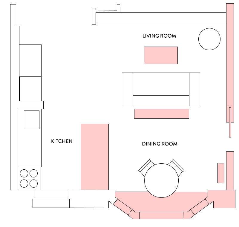 Small open-plan kitchen layout