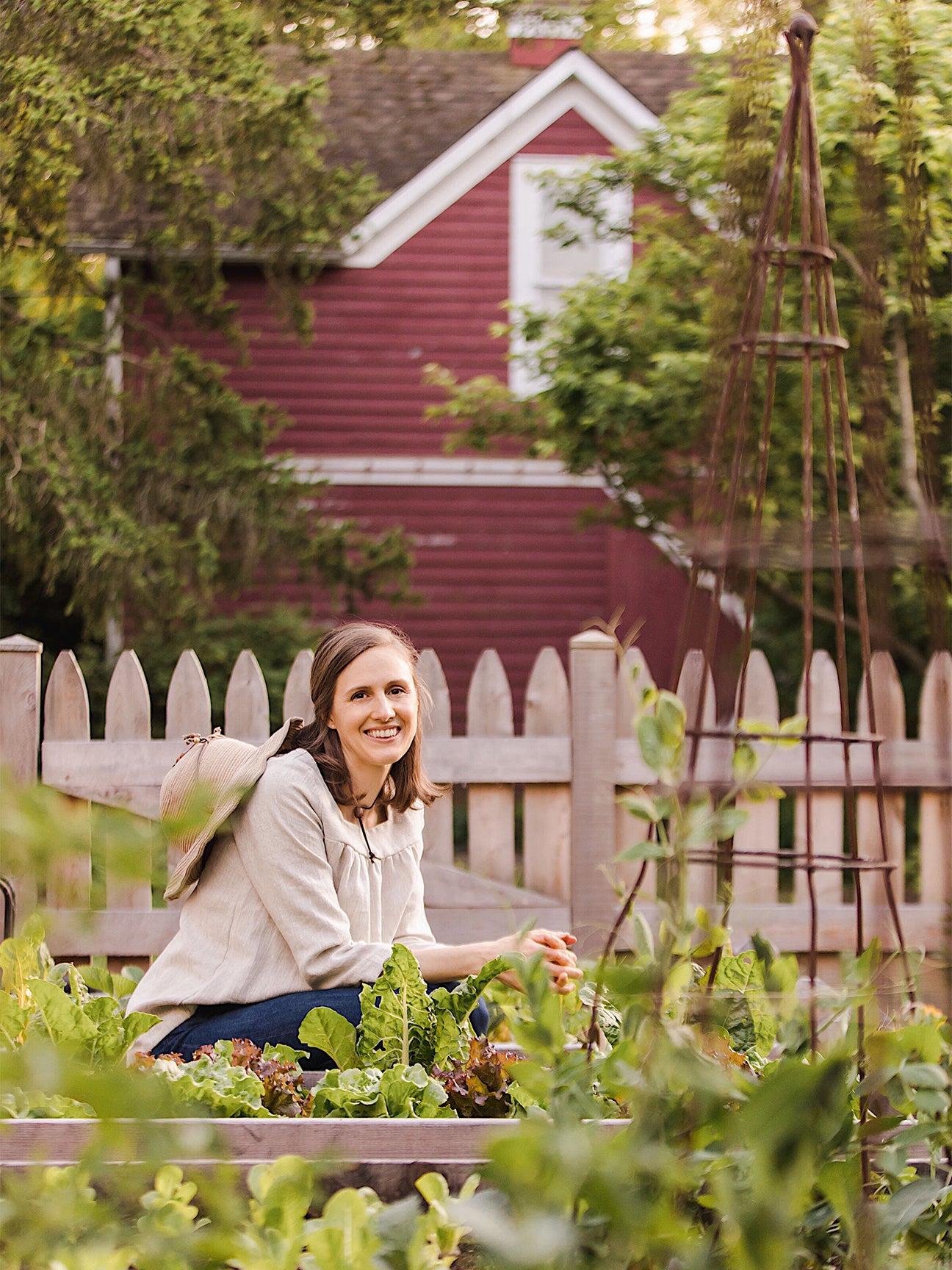 Julia Watkins in a yard