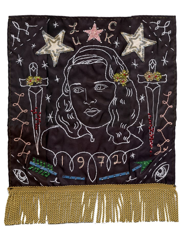 Embroidery portrait of a woman