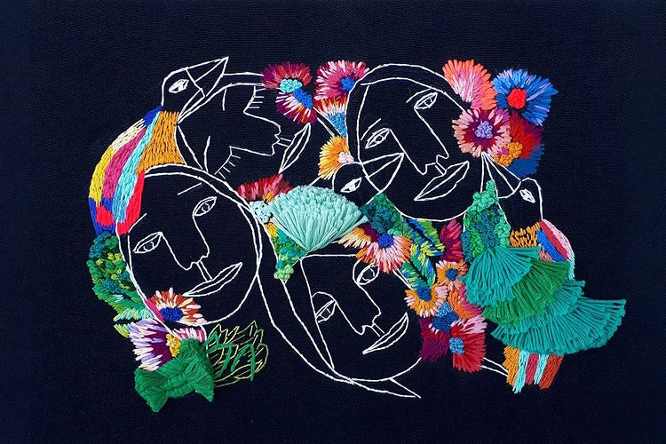 Embroidery portrait of faces and florals