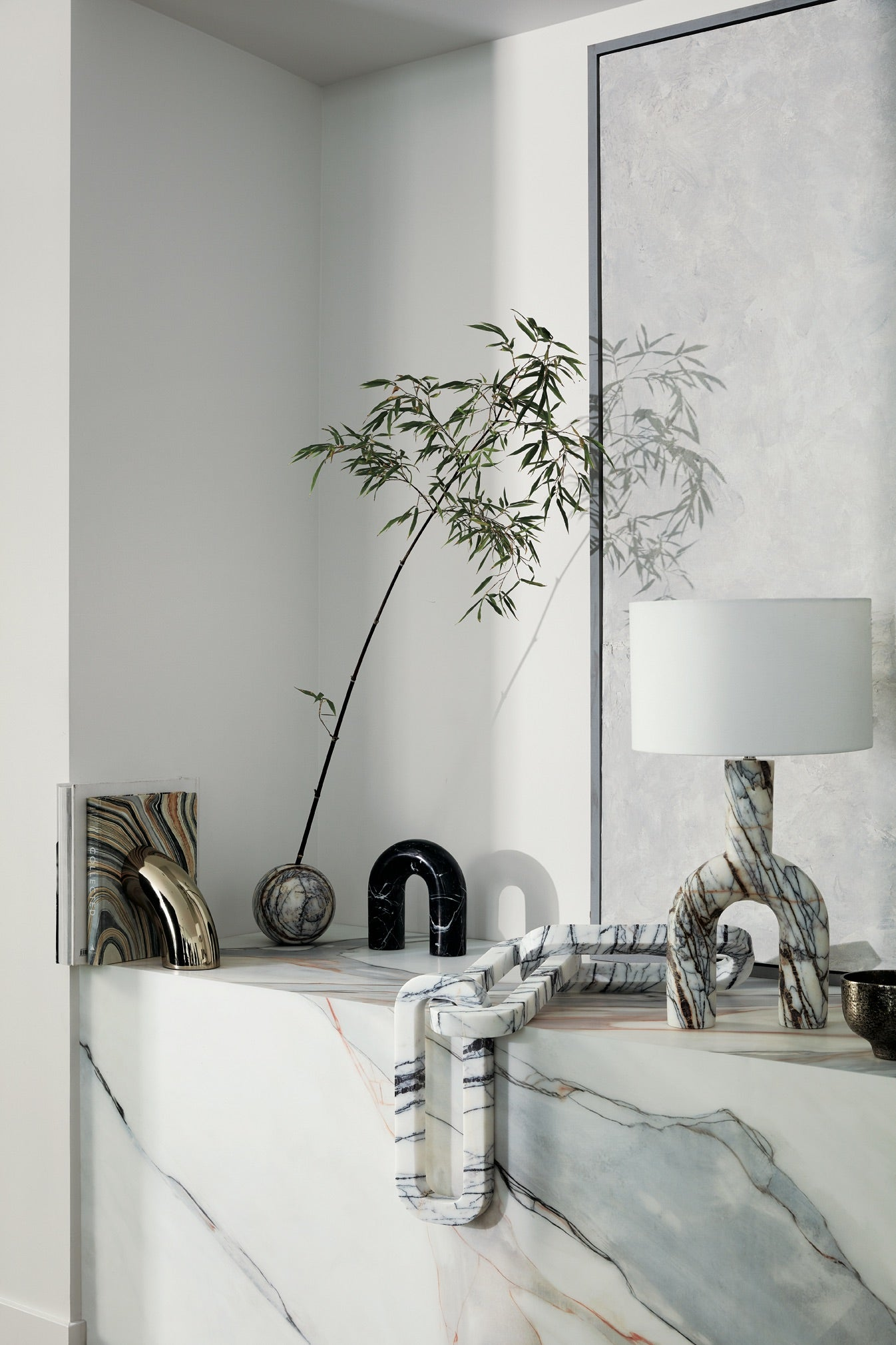 corner with marble lamp